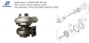 KTR110L-584E 6505-65-5091 TURBOCHARGER ASS'Y SAA6D140E 6D140 excavator diesel engine turbo for Komatsu