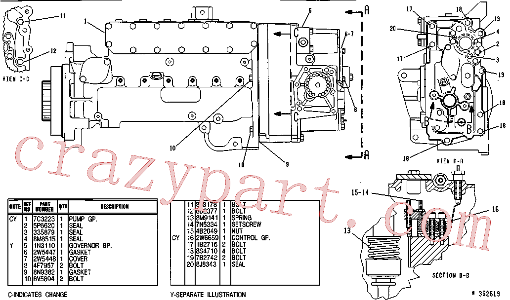 CAT 033-5879 for CS-653 Vibratory Compactor(COMP) fuel system and governor 7W-7800 Assembly