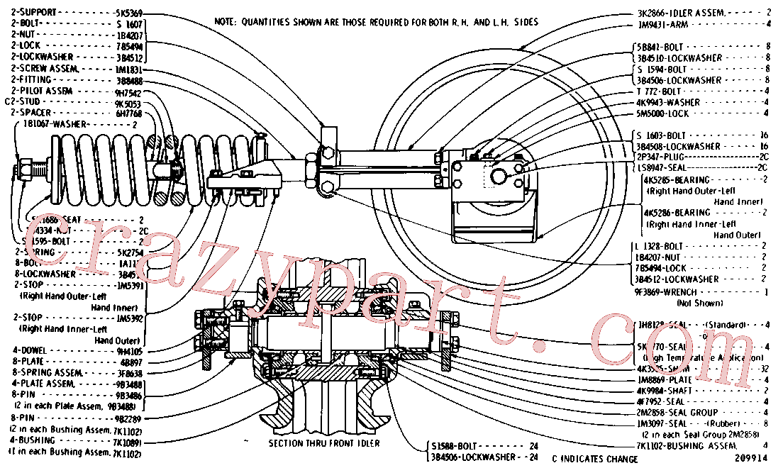 CAT 5K-1770 for 627F Wheel Scraper(WTS) chassis and undercarriage 6K-2664 Assembly