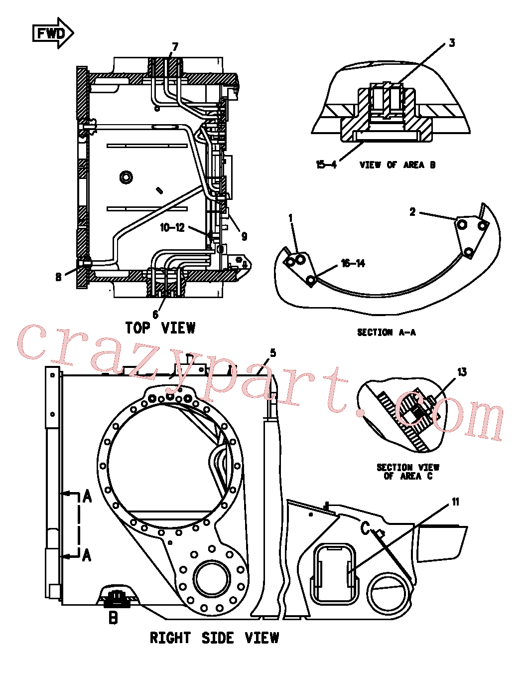 CAT 6F-0711 for D4H Track Type Tractor(TTT) frame and body 107-7250 Assembly