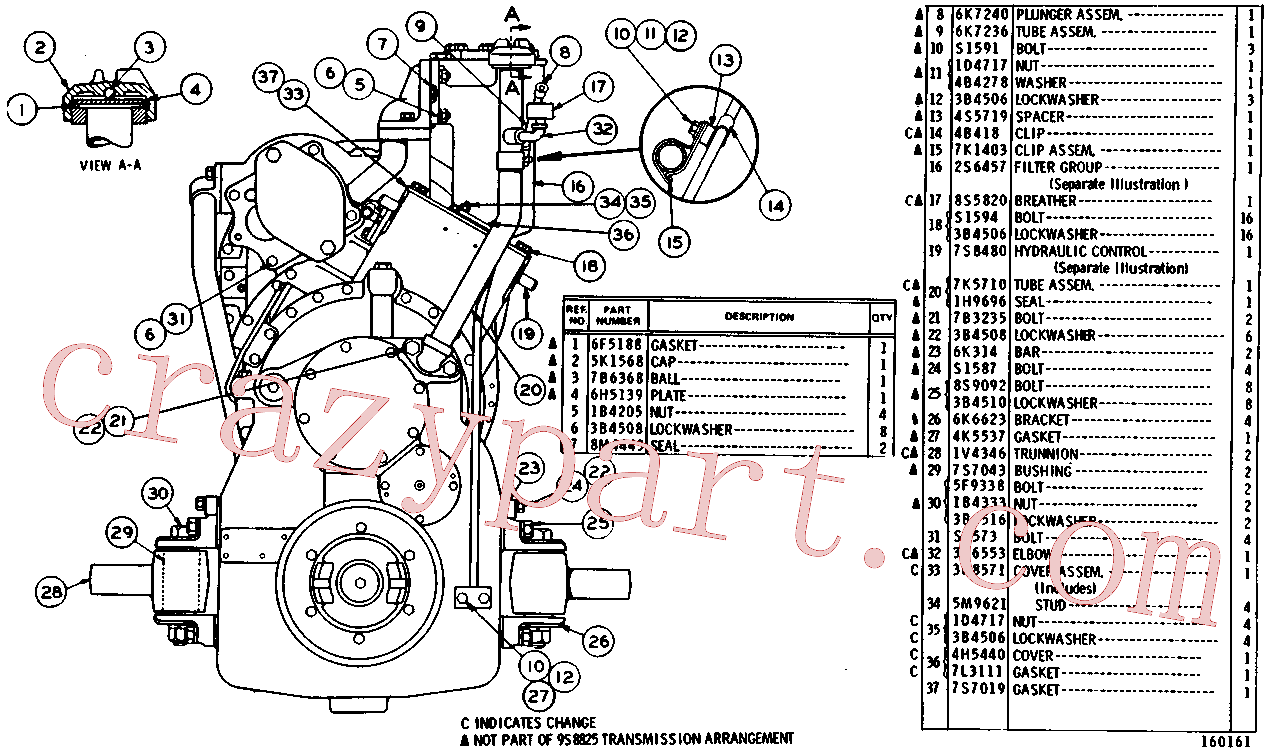 CAT 4S-5719 for 621B Wheel Tractor(WTS) power train-power transmission unit 9S-8825 Assembly