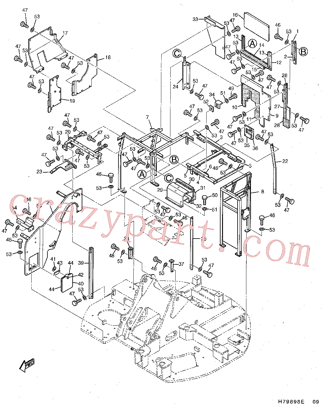 CAT 9X-2027 for 330 Excavator(EXC) frame and body 161-7785 Assembly