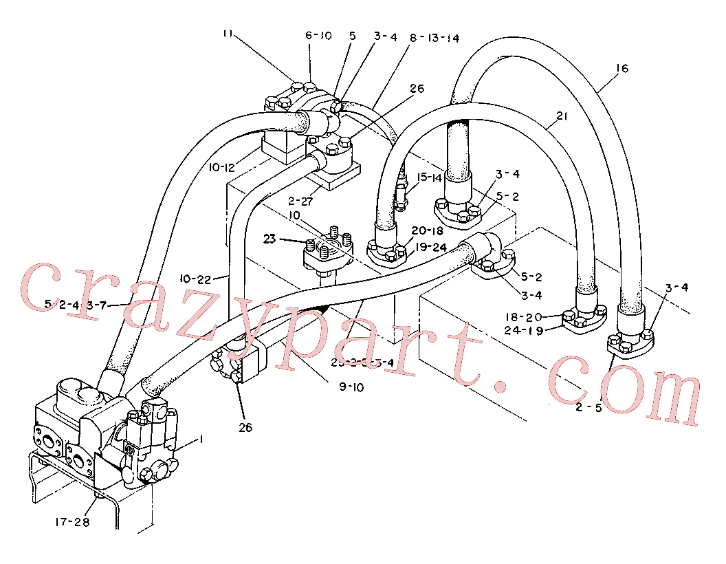 CAT 3V-9732 for 225B Excavator(EXC) hydraulic system 6W-4628 Assembly