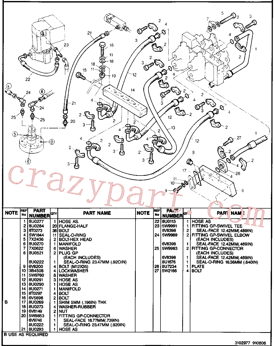CAT 8U-0312 for 224B Excavator(EXC) hydraulic system 8U-3031 Assembly
