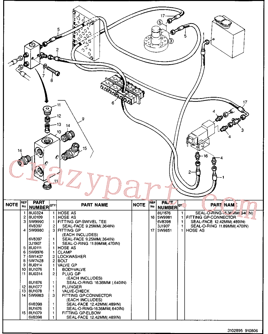 CAT 5W-4303 for 214B Excavator(EXC) hydraulic system 5W-9796 Assembly