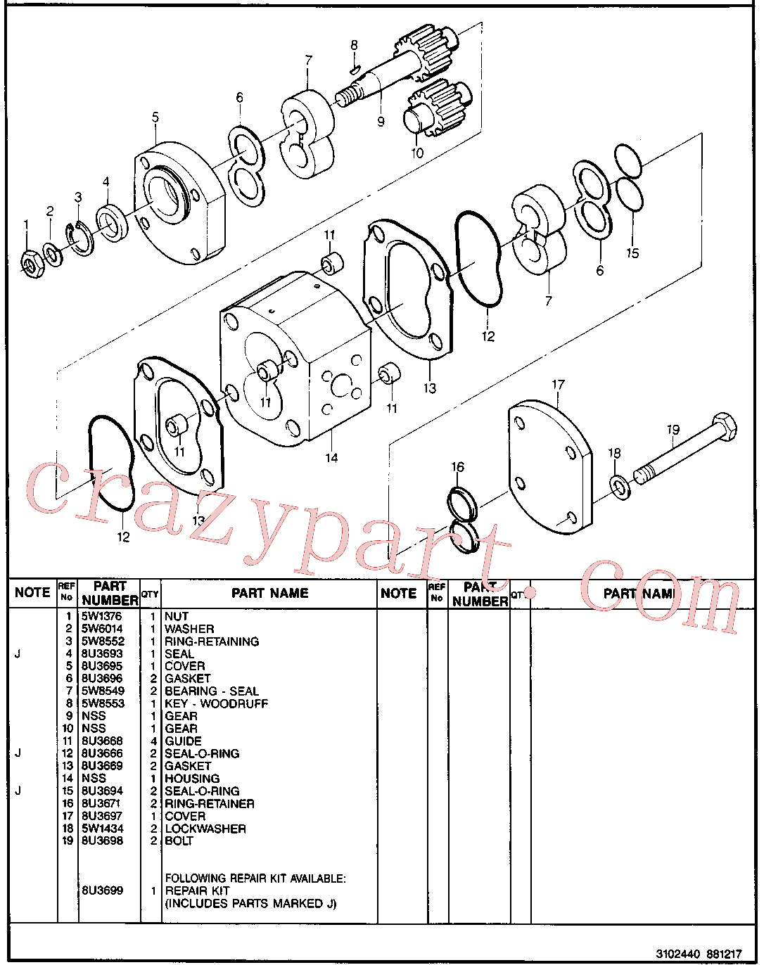 CAT 8U-3668 for 212B Excavator(EXC) hydraulic system 8U-0188 Assembly