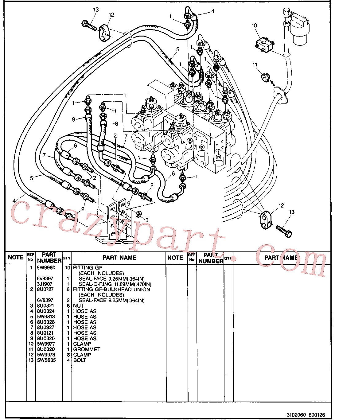 CAT 8U-0302 for 213B Excavator(EXC) hydraulic system 5W-9802 Assembly