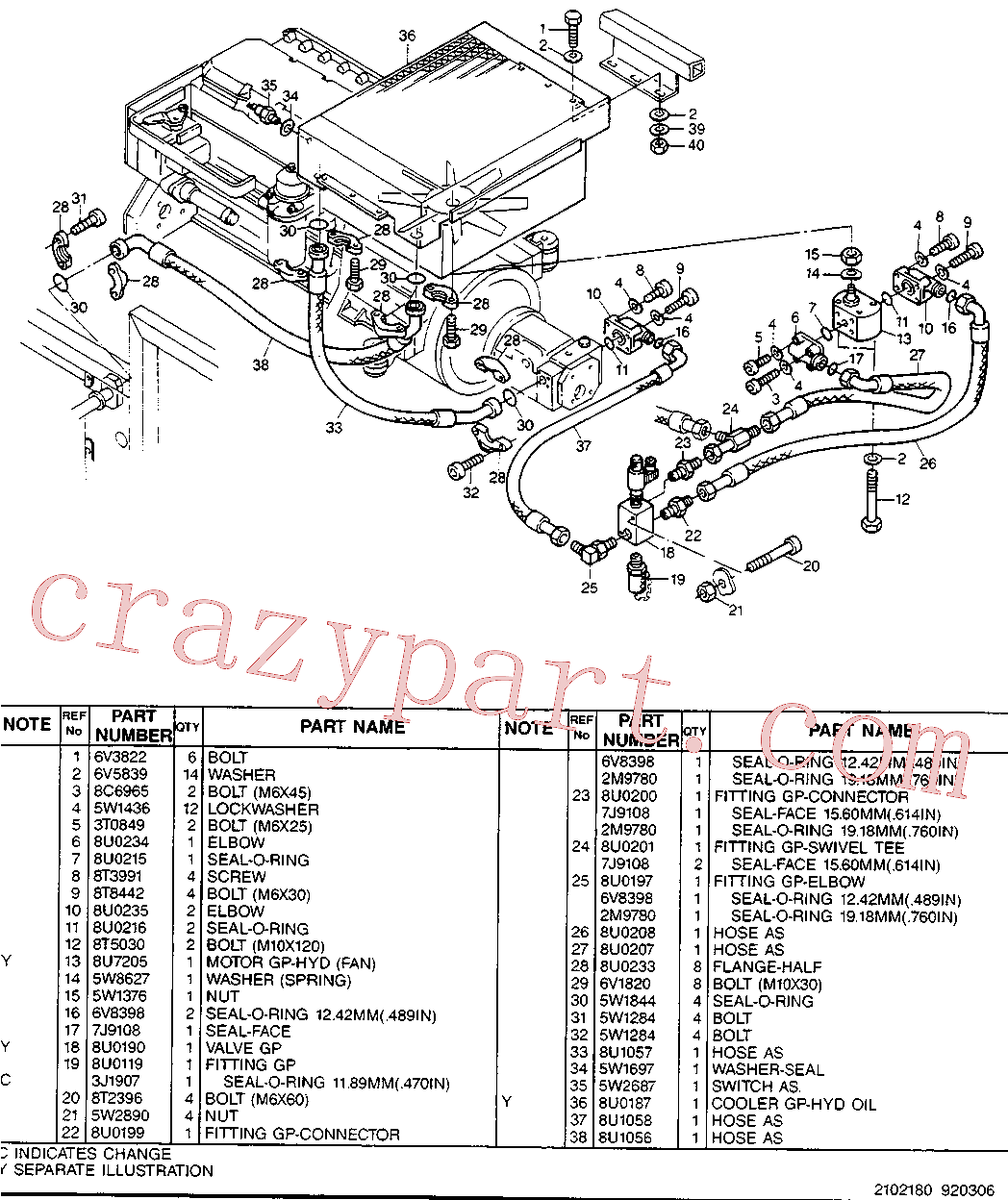 CAT 8U-2156 for 214B Excavator(EXC) hydraulic system 8U-0931 Assembly