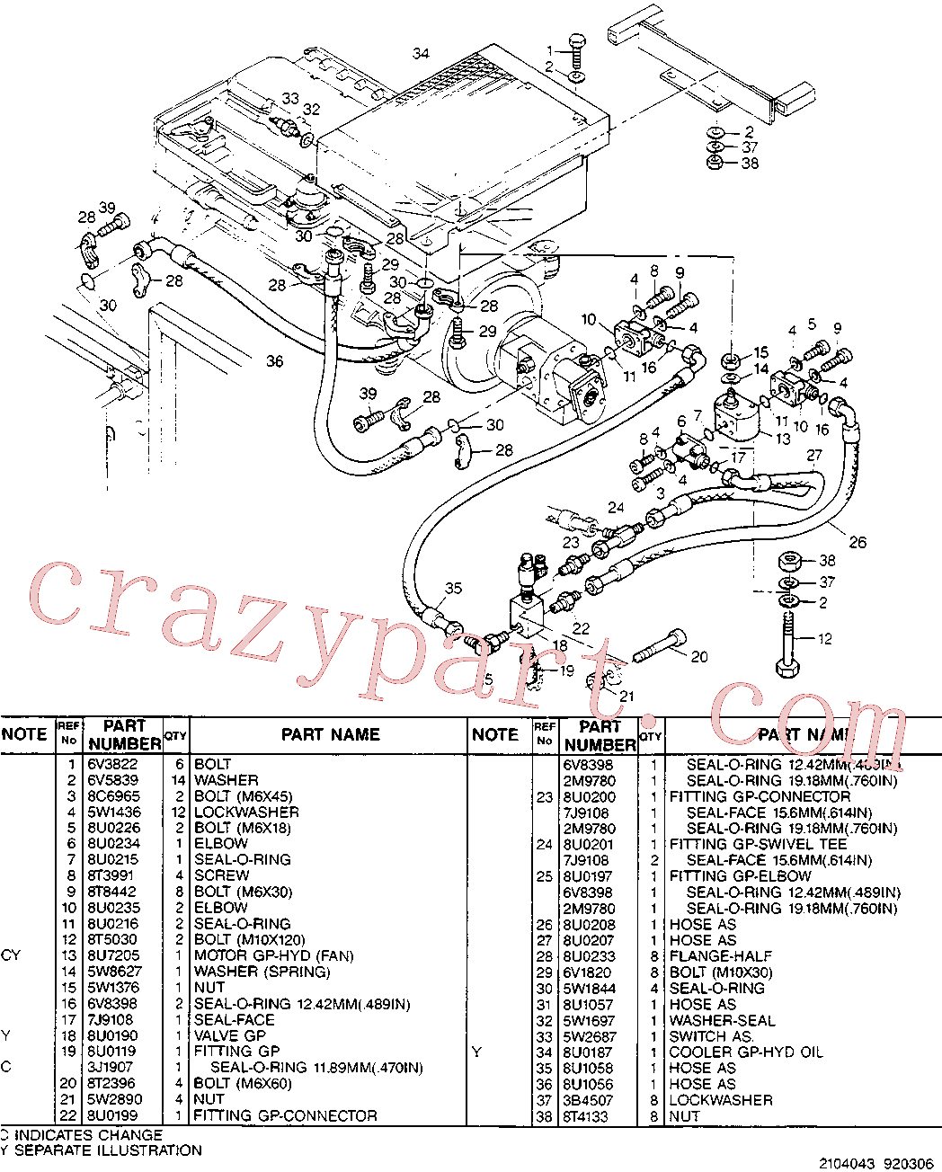 CAT 8U-2156 for 224B Excavator(EXC) hydraulic system 8U-3949 Assembly