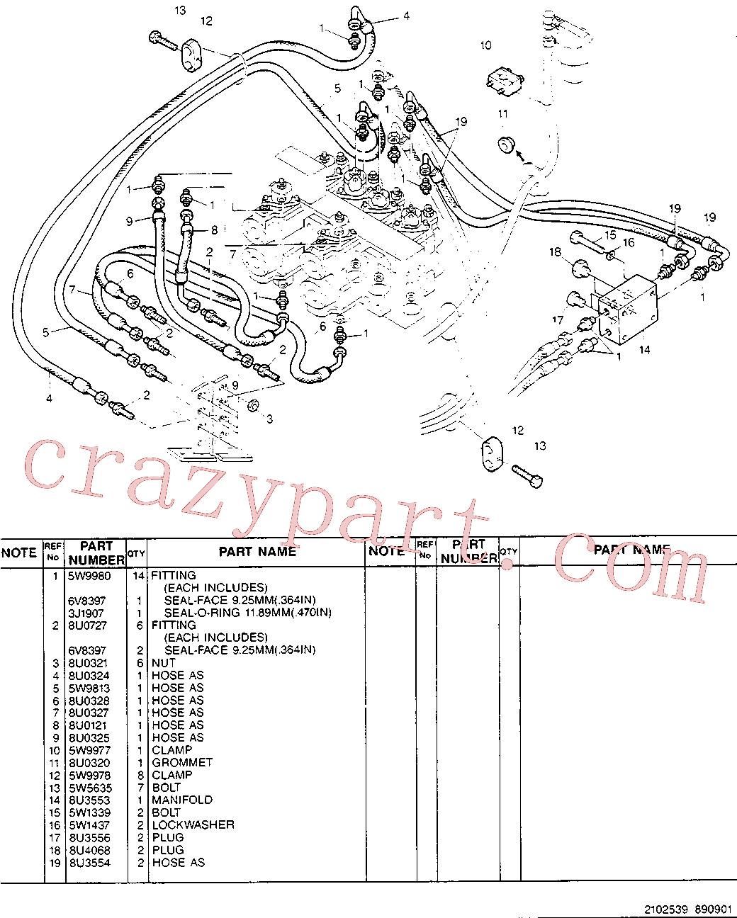 CAT 8U-0302 for 214B FT Excavator(EXC) hydraulic system 5W-9817 Assembly