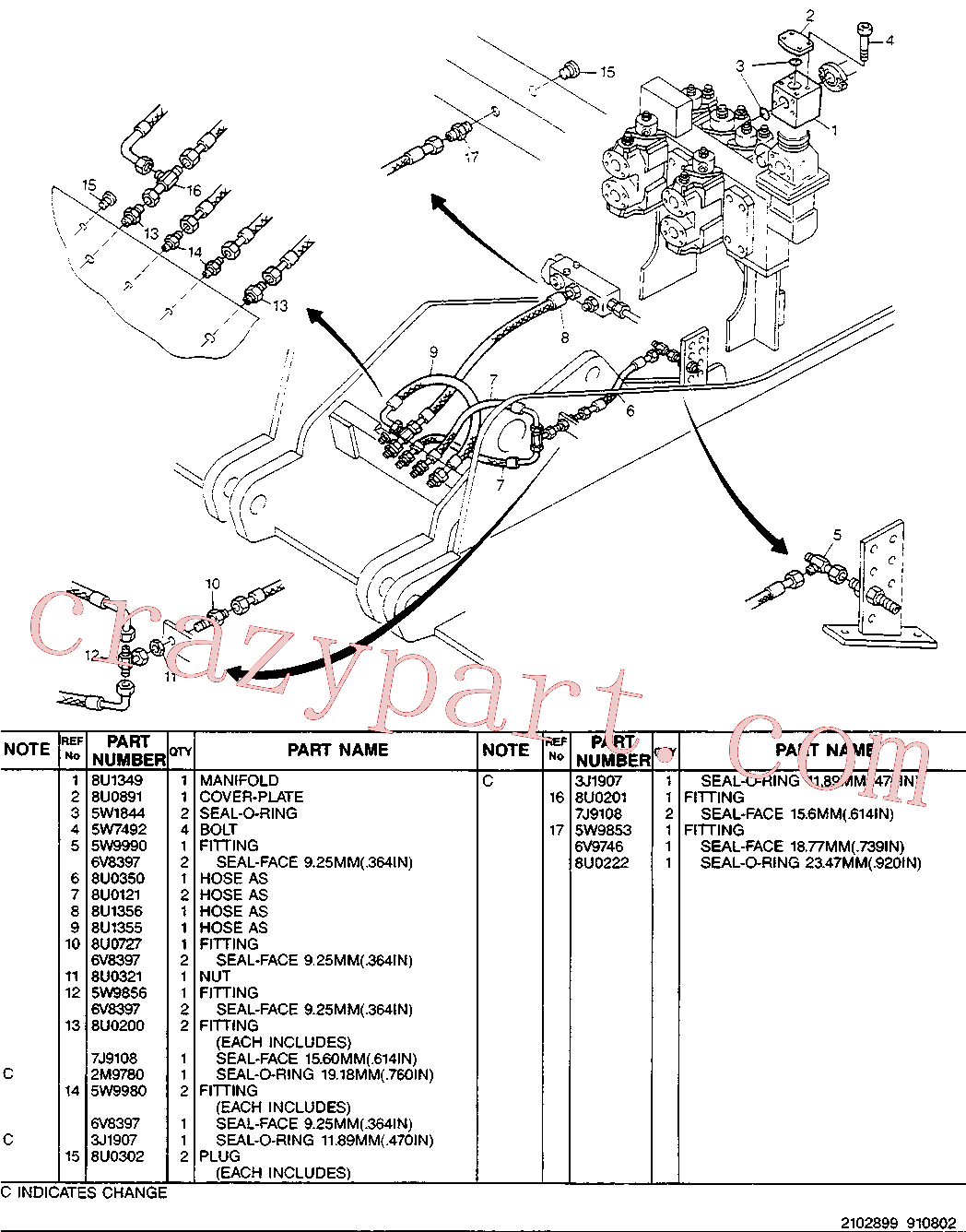 CAT 8U-0302 for 214B Excavator(EXC) hydraulic system 8U-1348 Assembly