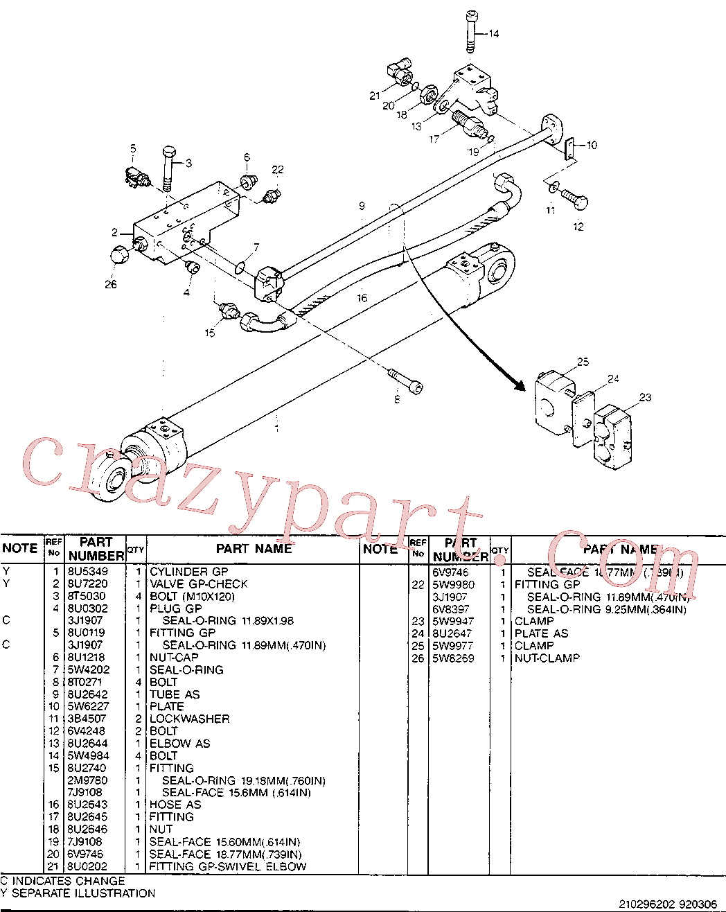 CAT 8U-0302 for 214B FT Excavator(EXC) hydraulic system 8U-2640 Assembly