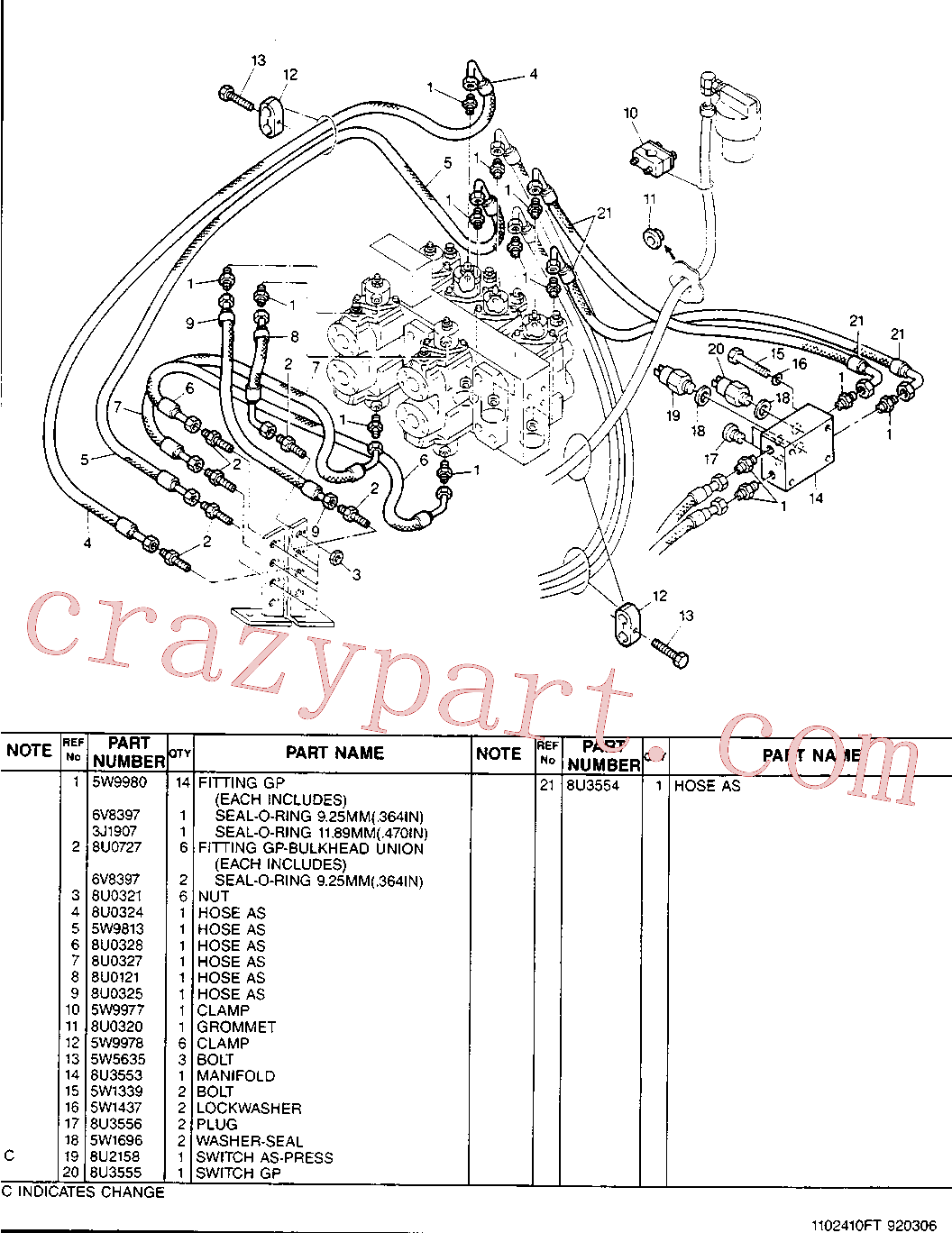 CAT 8U-0302 for 213B Excavator(EXC) hydraulic system 8U-3552 Assembly