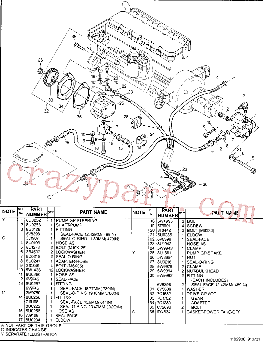 CAT 8U-3668 for 224B Excavator(EXC) hydraulic system 8U-0254 Assembly