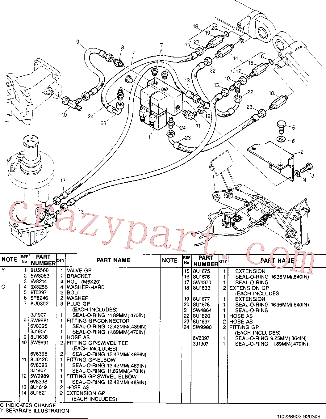 CAT 8U-0302 for 224B Excavator(EXC) hydraulic system 8U-1632 Assembly