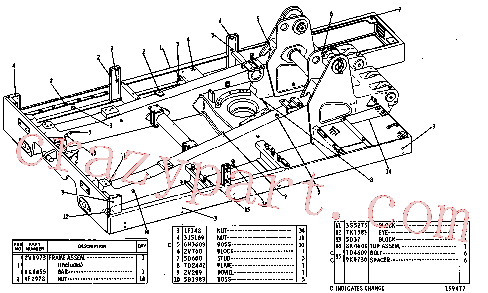 CAT 1D-4602 for 140 Hydraulic Control(TTT) chassis and undercarriage 8K-1748 Assembly