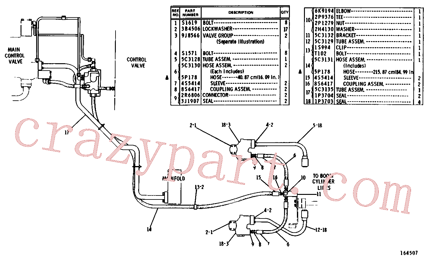 CAT 5P-4372 for 215 Excavator(EXC) hydraulic system 5C-3580 Assembly