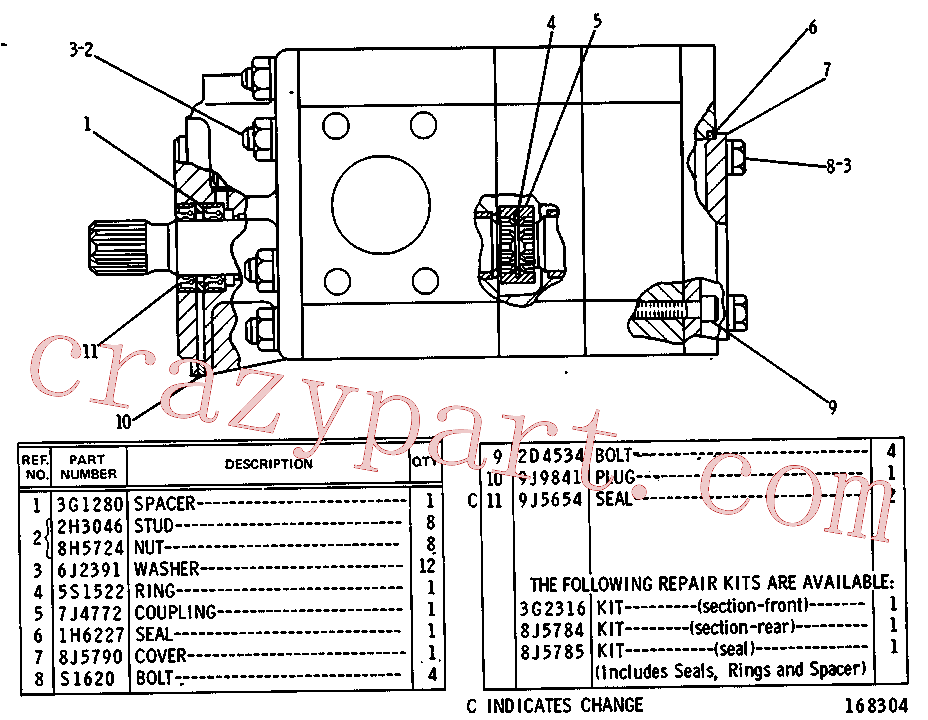 CAT 8J-5785 for 225 Excavator(EXC) hydraulic system 3G-2875 Assembly
