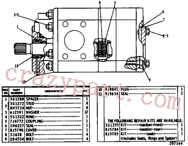 CAT 8J-5785 for 235C Excavator(EXC) hydraulic system 9J-5000 Assembly