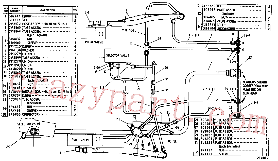 CAT 5M-1822 for 951 Ripper(TTL) hydraulic system 5C-2477 Assembly