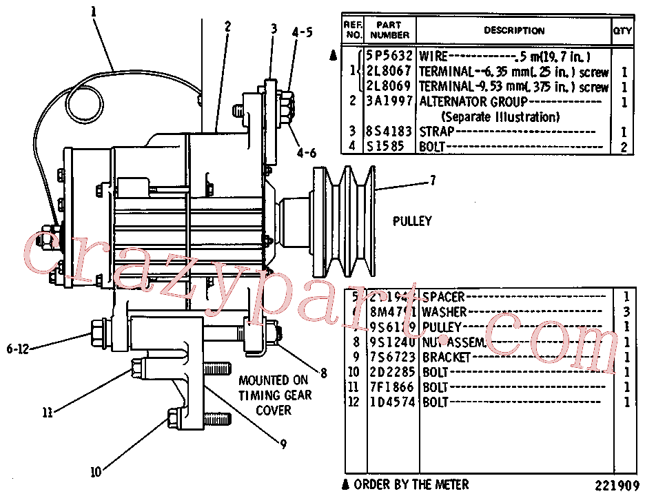 CAT 2D-2285 for 235C Excavator(EXC) starting and electrical system 5C-6447 Assembly