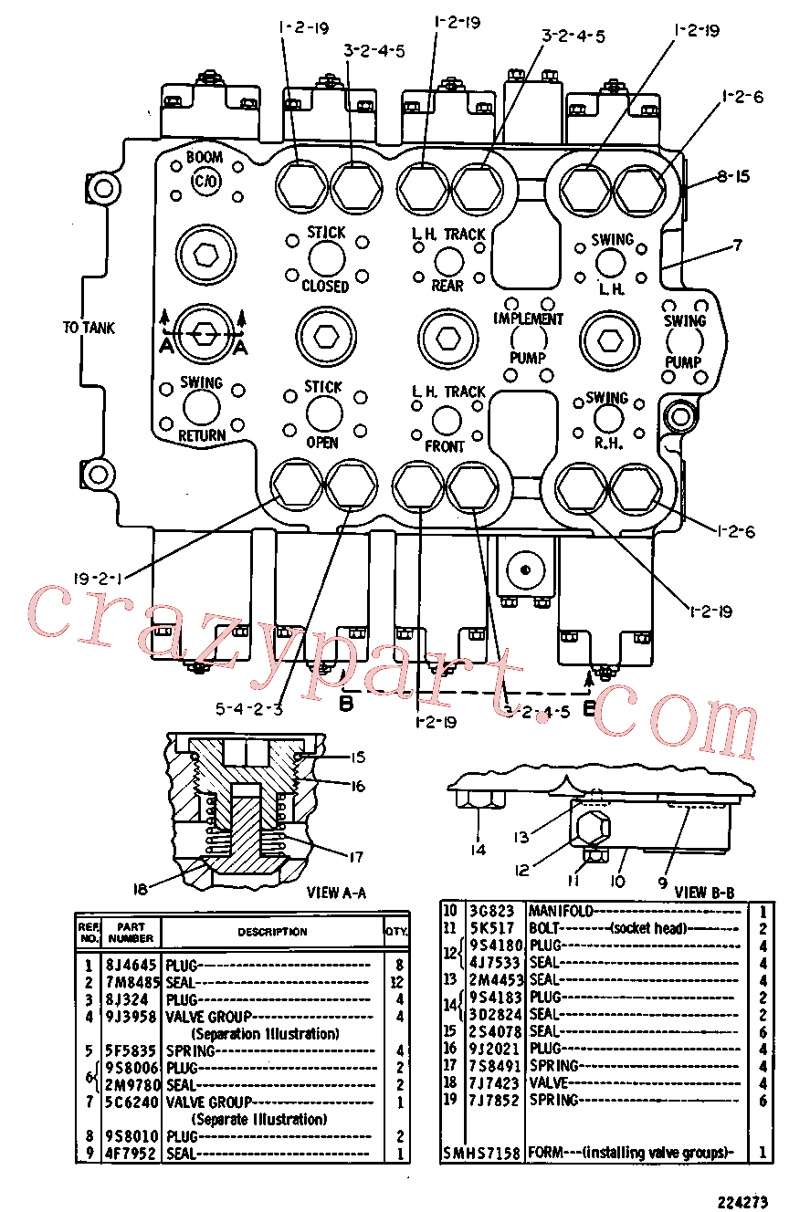 CAT 8J-4645 for 329D2 L Excavator(EXC) hydraulic system 5C-6605 Assembly