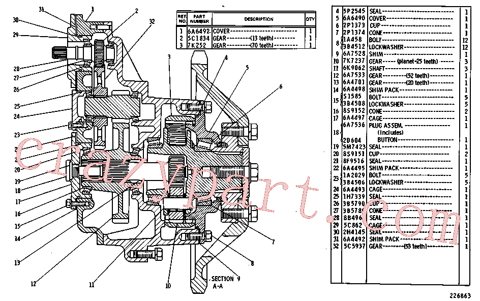 CAT 5C-0862 for 215C Excavator(EXC) power train 6A-7259 Assembly