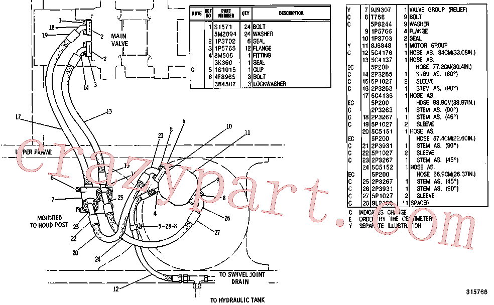 CAT 2P-3931 for 215B Excavator(EXC) hydraulic system 5C-1730 Assembly