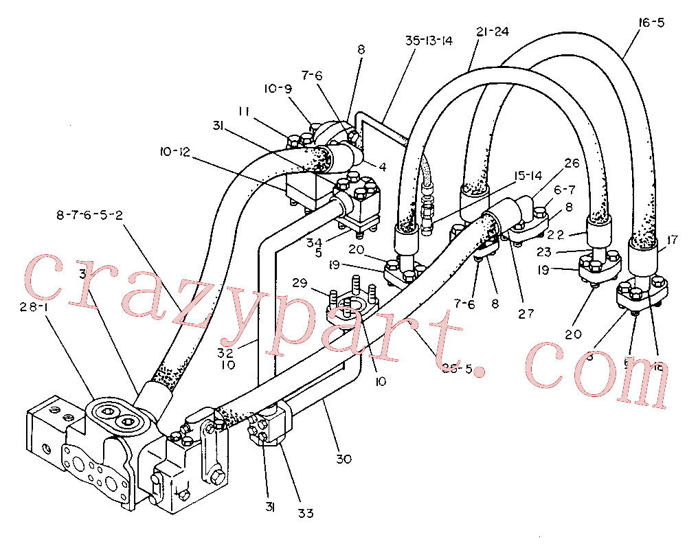 CAT 1U-0423 for 215 Excavator(EXC) hydraulic system 5V-7221 Assembly