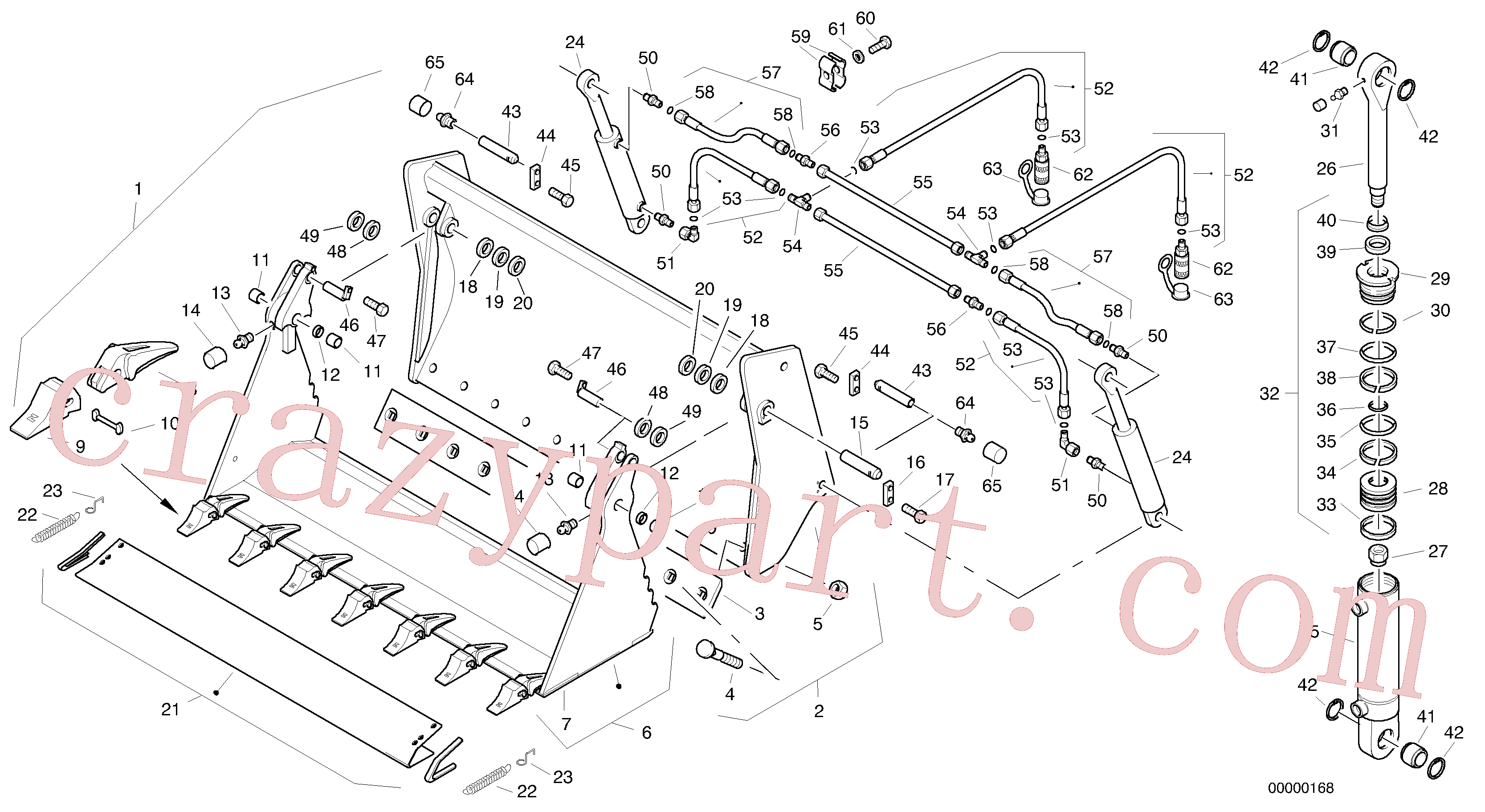 ZM2290851 for Volvo Combined bucket, Shutter bucket with teeth, Combined bucket - 1800 mm broad(00000168 assembly)