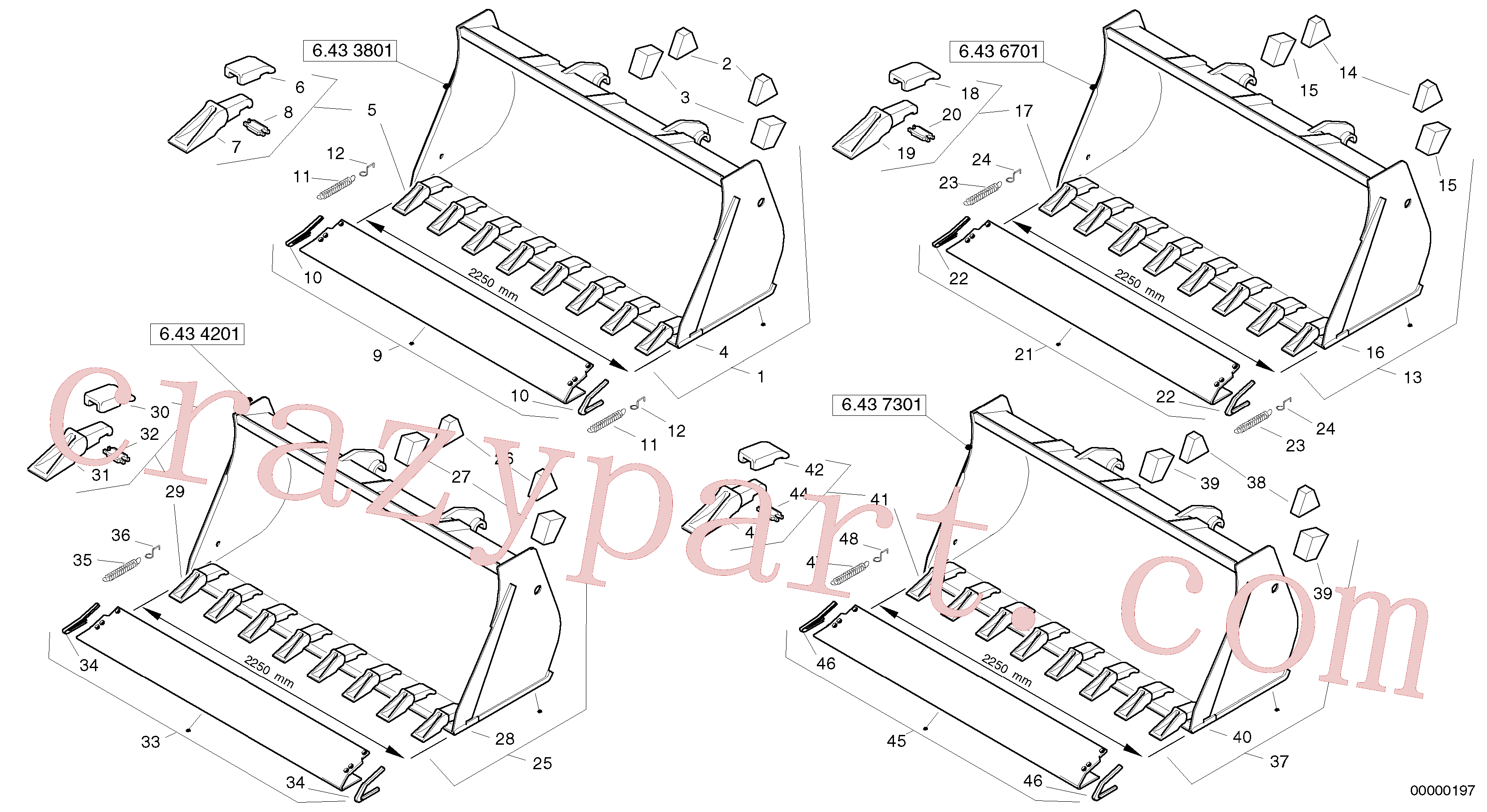 ZM2078120 for Volvo Bucket with teeth - Tpv(00000197 assembly)