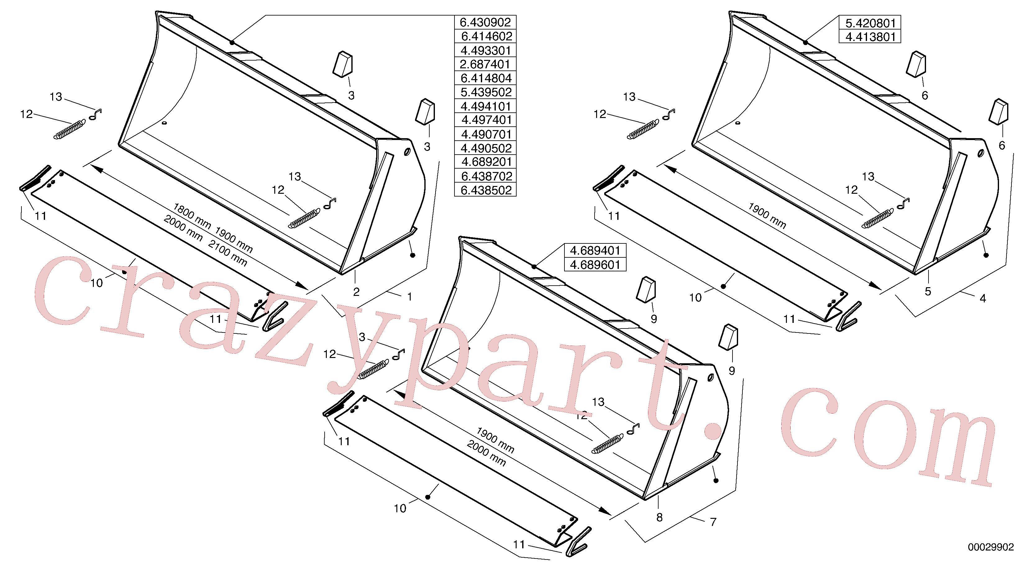 ZM2290670 for Volvo Bucket without teeth(00029902 assembly)