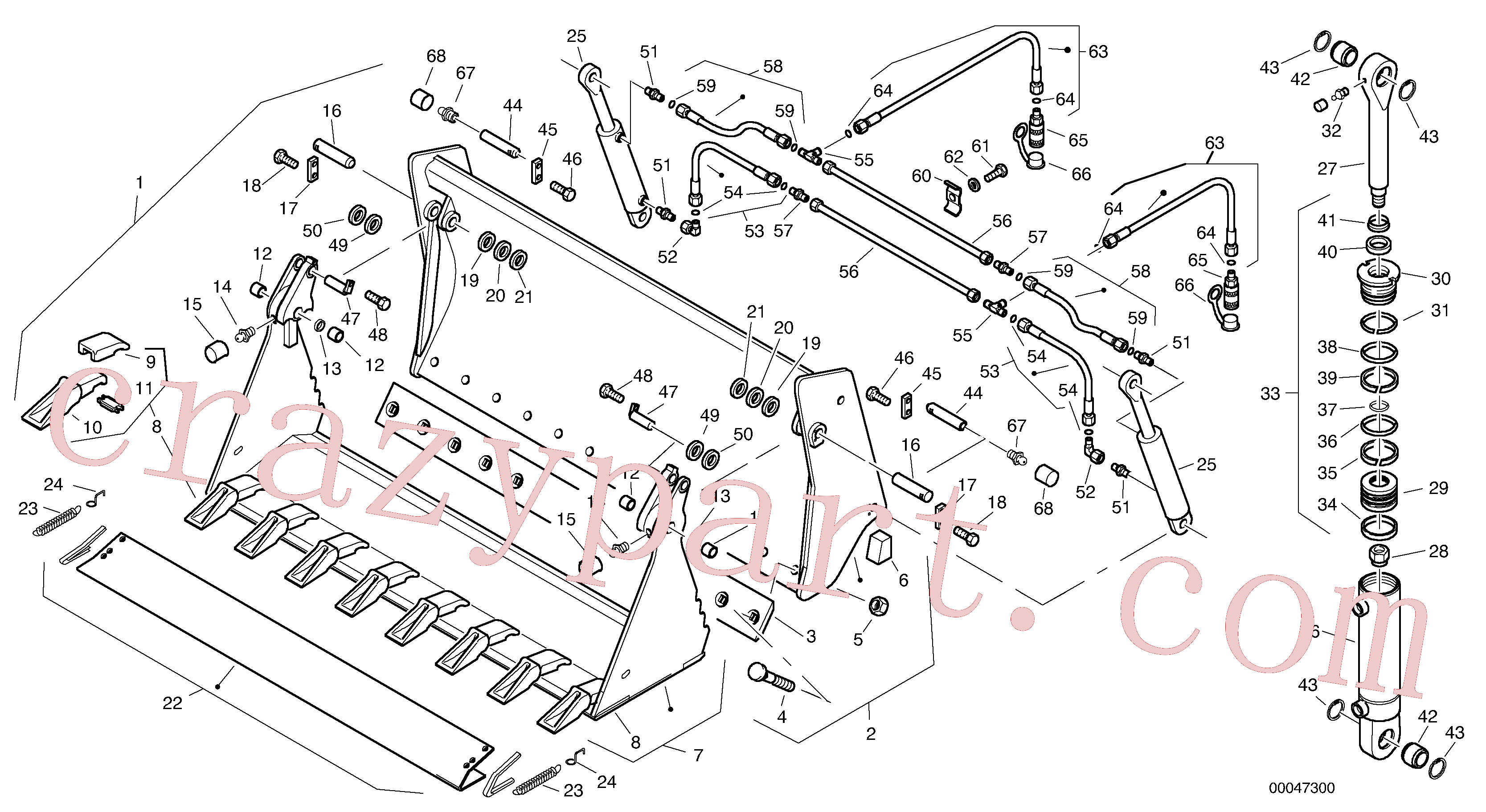 ZM2078120 for Volvo Combined bucket - TPZ without teeth(00047300 assembly)