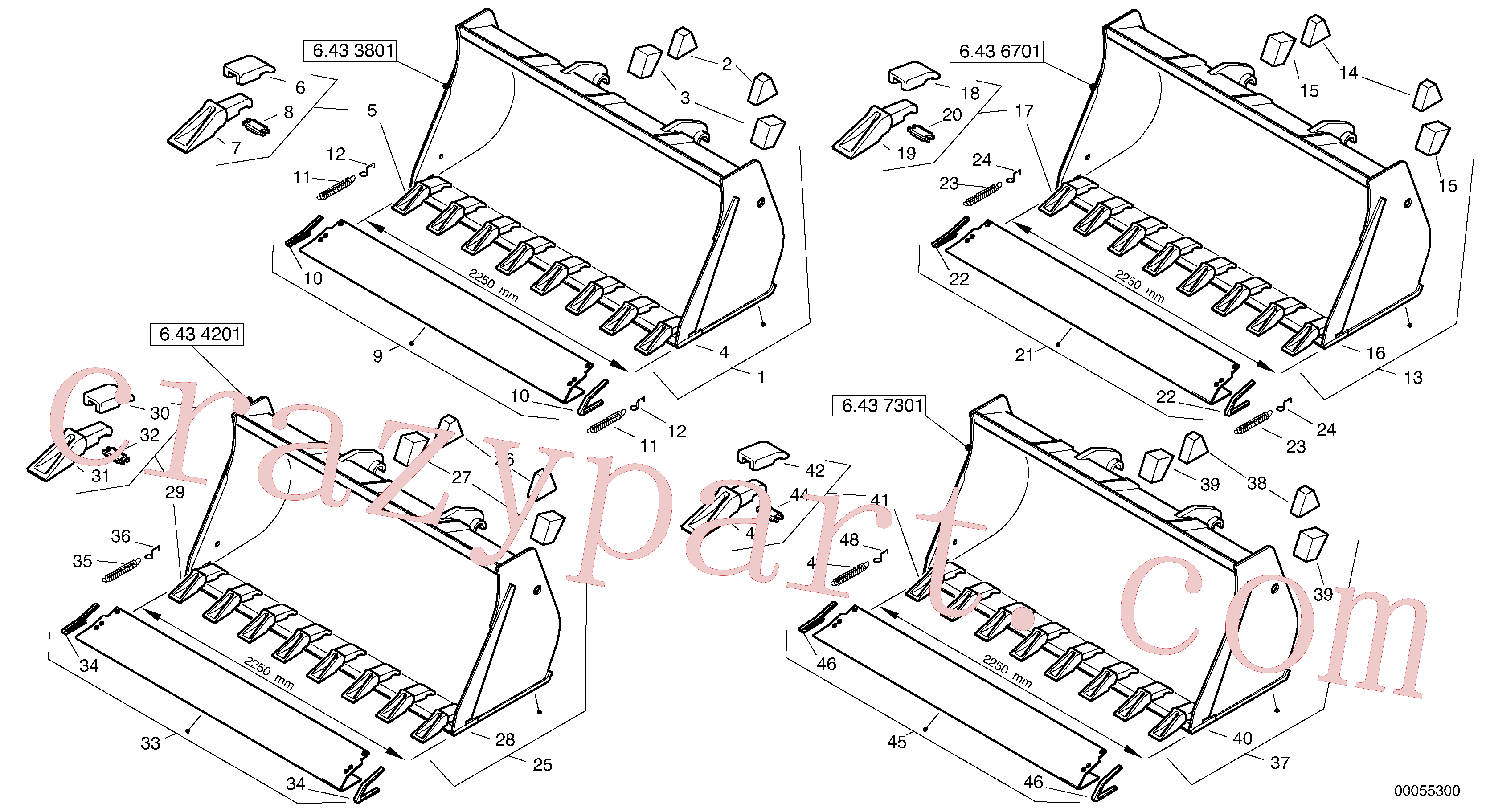 ZM2078120 for Volvo Bucket with teeth - TPV(00055300 assembly)