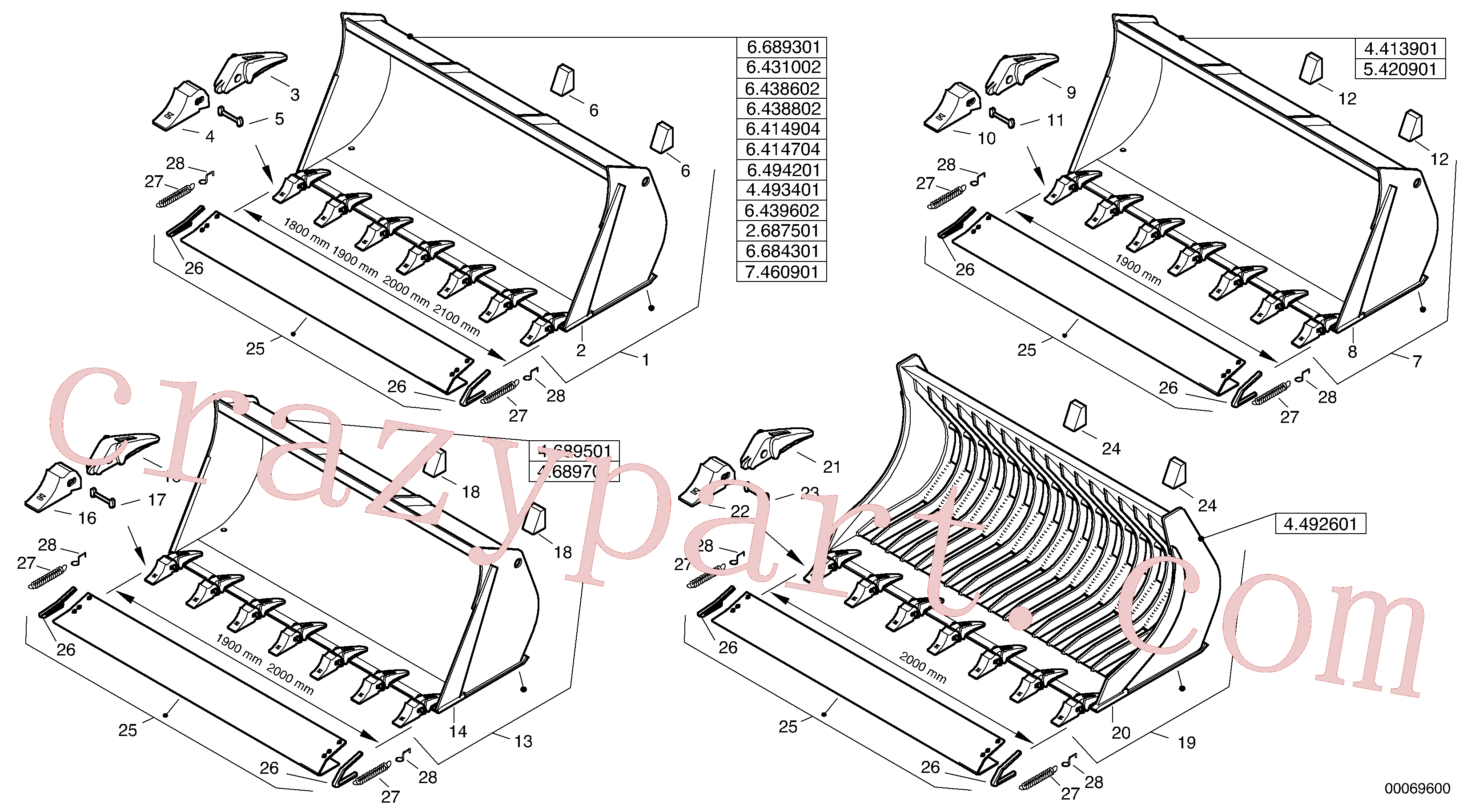 ZM2813500 for Volvo Bucket with teeth - Z-Cinematic(00069600 assembly)