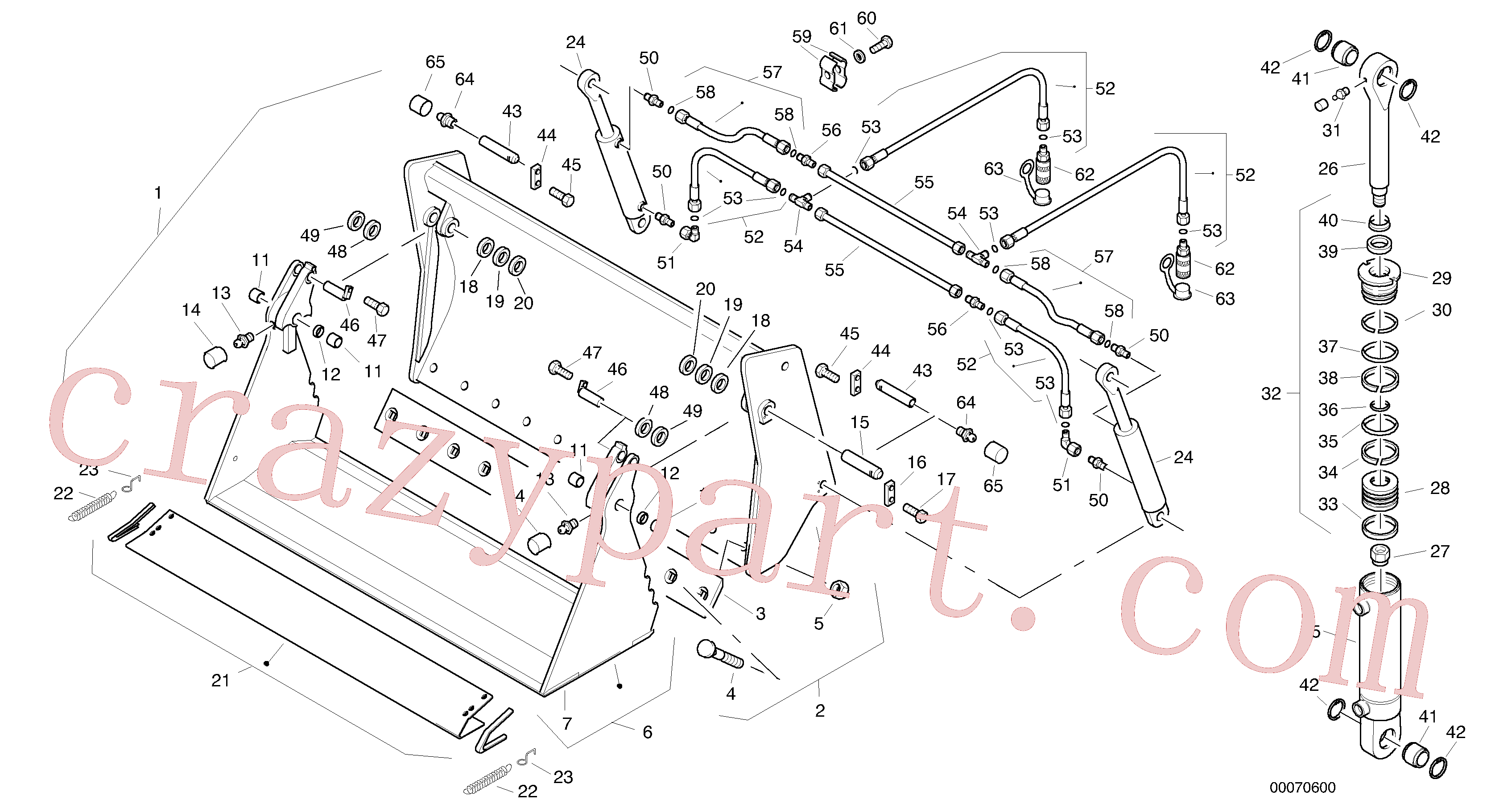 ZM4384287 for Volvo Combined bucket, 0.8 m³ - 1800 mm broad without teeth(00070600 assembly)