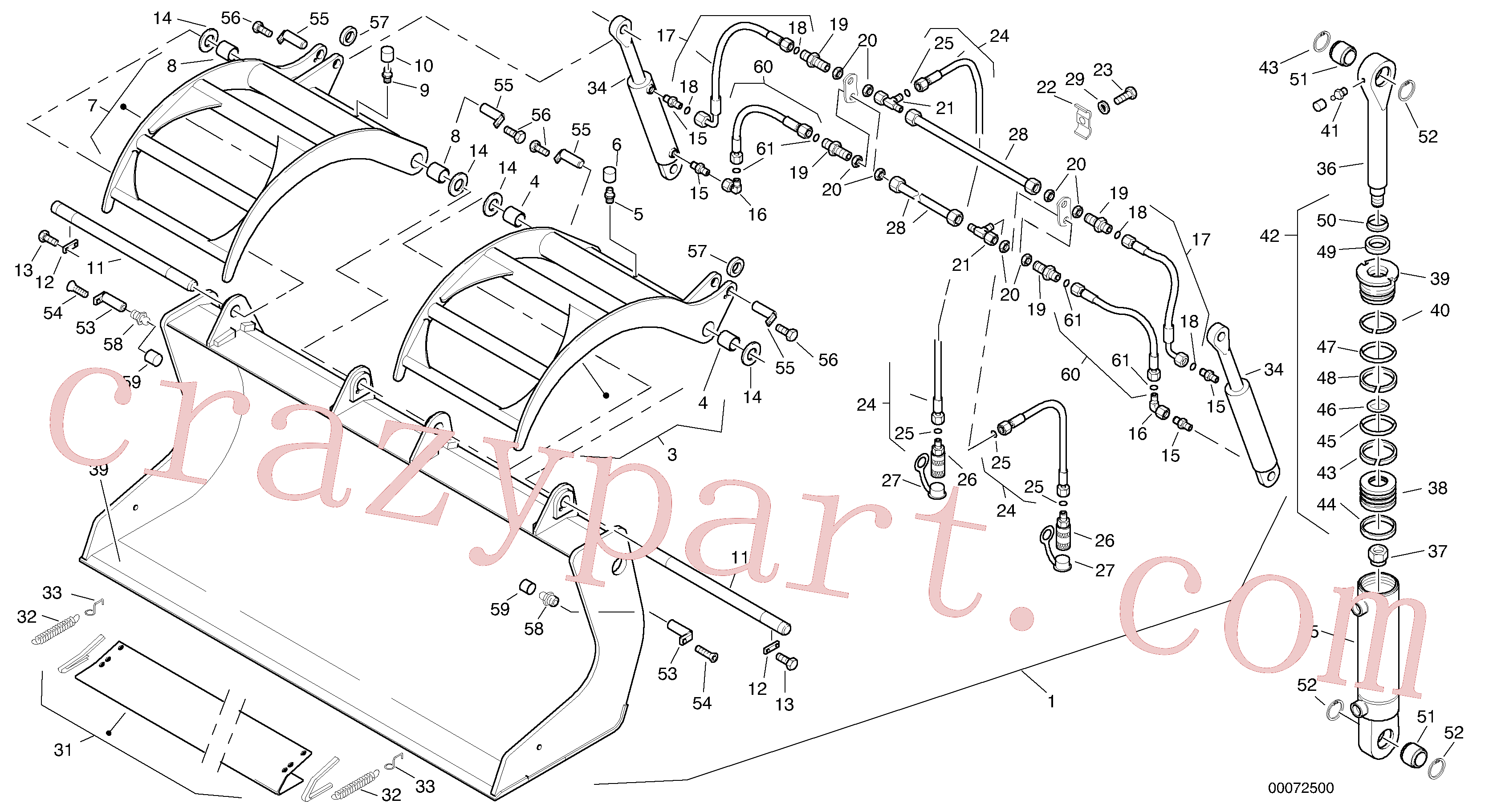 VOE11315002 for Volvo Scrap bucket, 1.0 m³ - 2000 mm broad(00072500 assembly)
