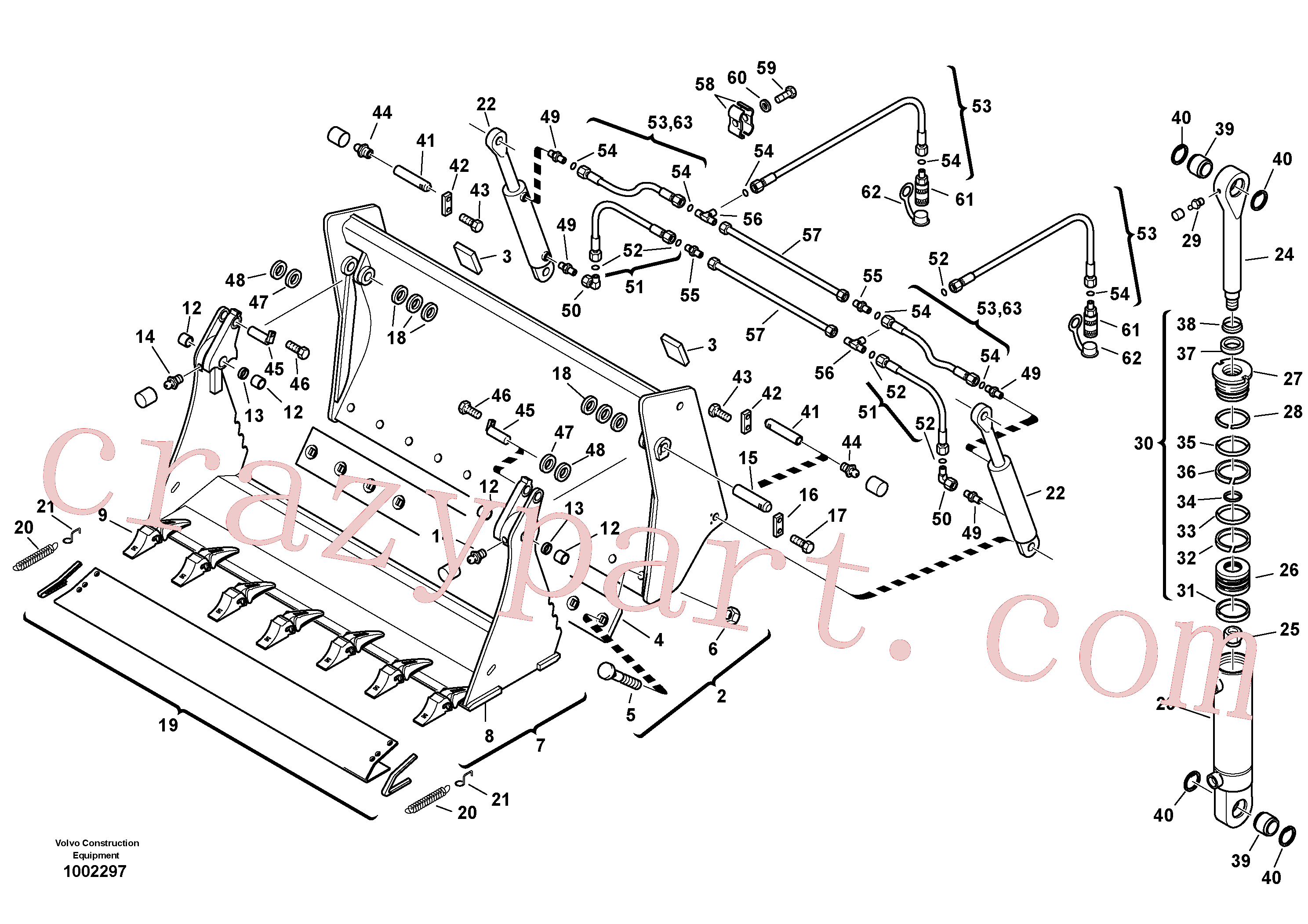 ZM2290851 for Volvo Shutter bucket with teeth(1002297 assembly)