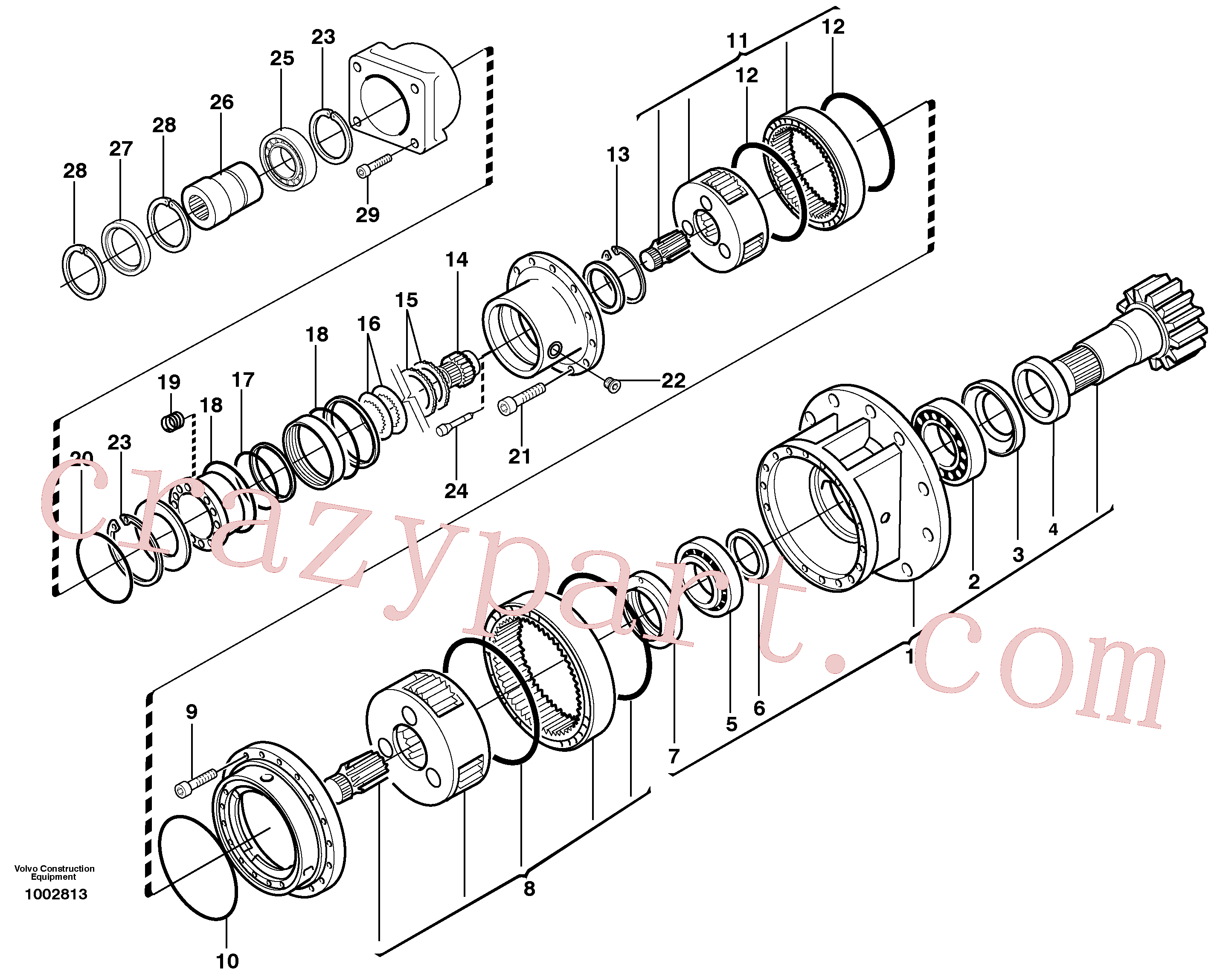 VOE14346846 for Volvo Rebuild kit, Swing gearbox(1002813 assembly)