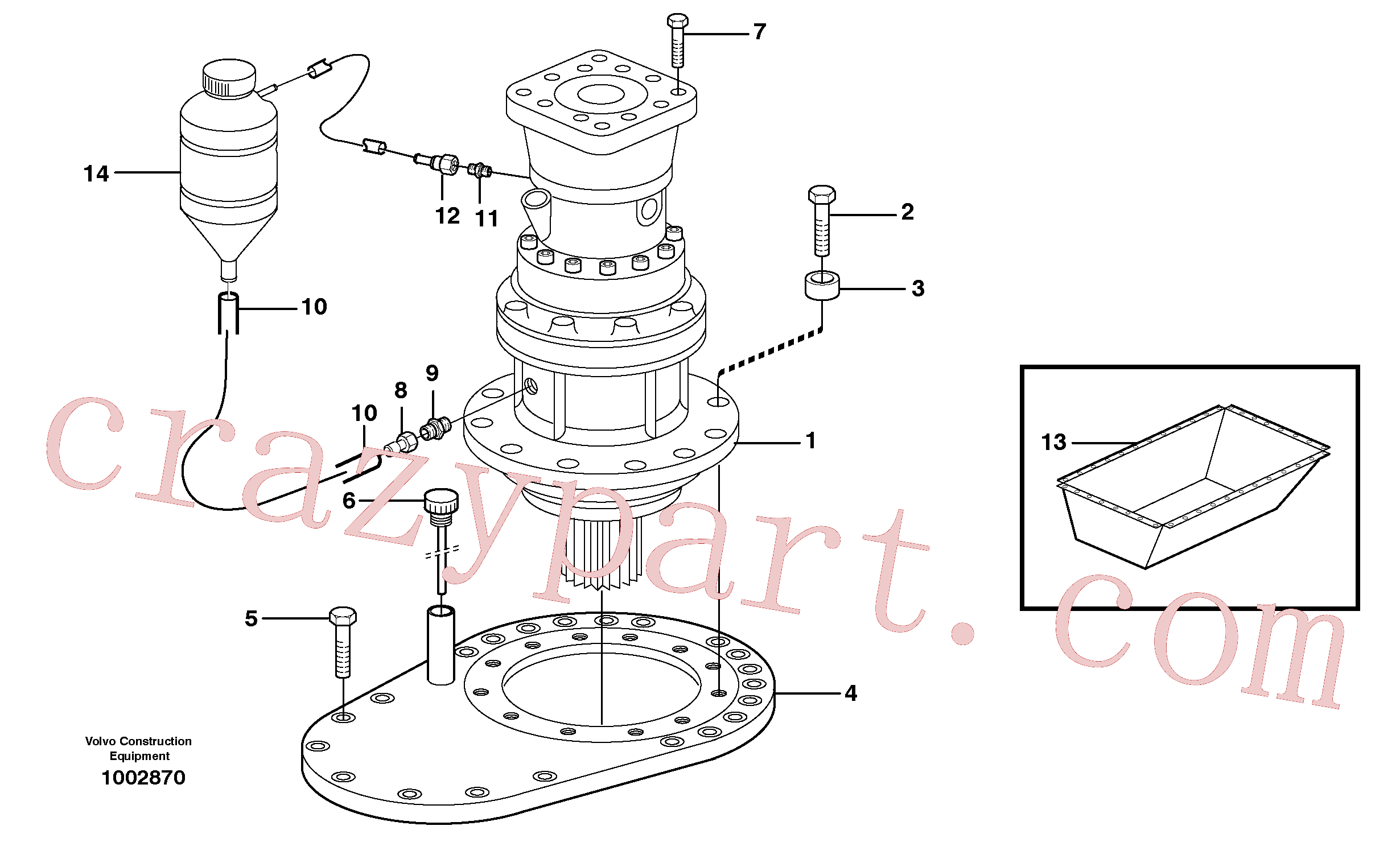 VOE14347088 for Volvo Rebuild kit, Swing gearbox(1002870 assembly)