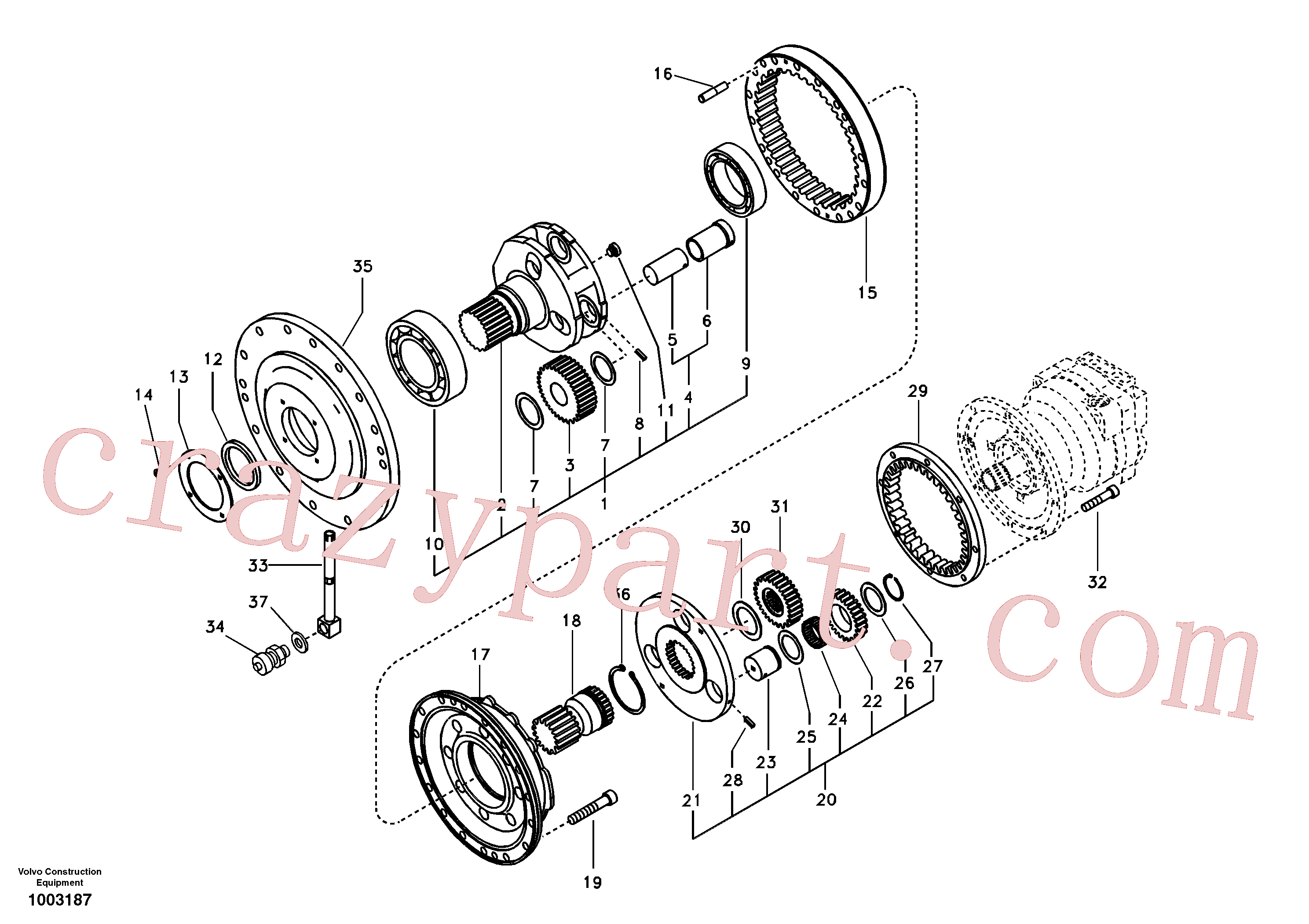 VOE14530355 for Volvo Swing gearbox(1003187 assembly)
