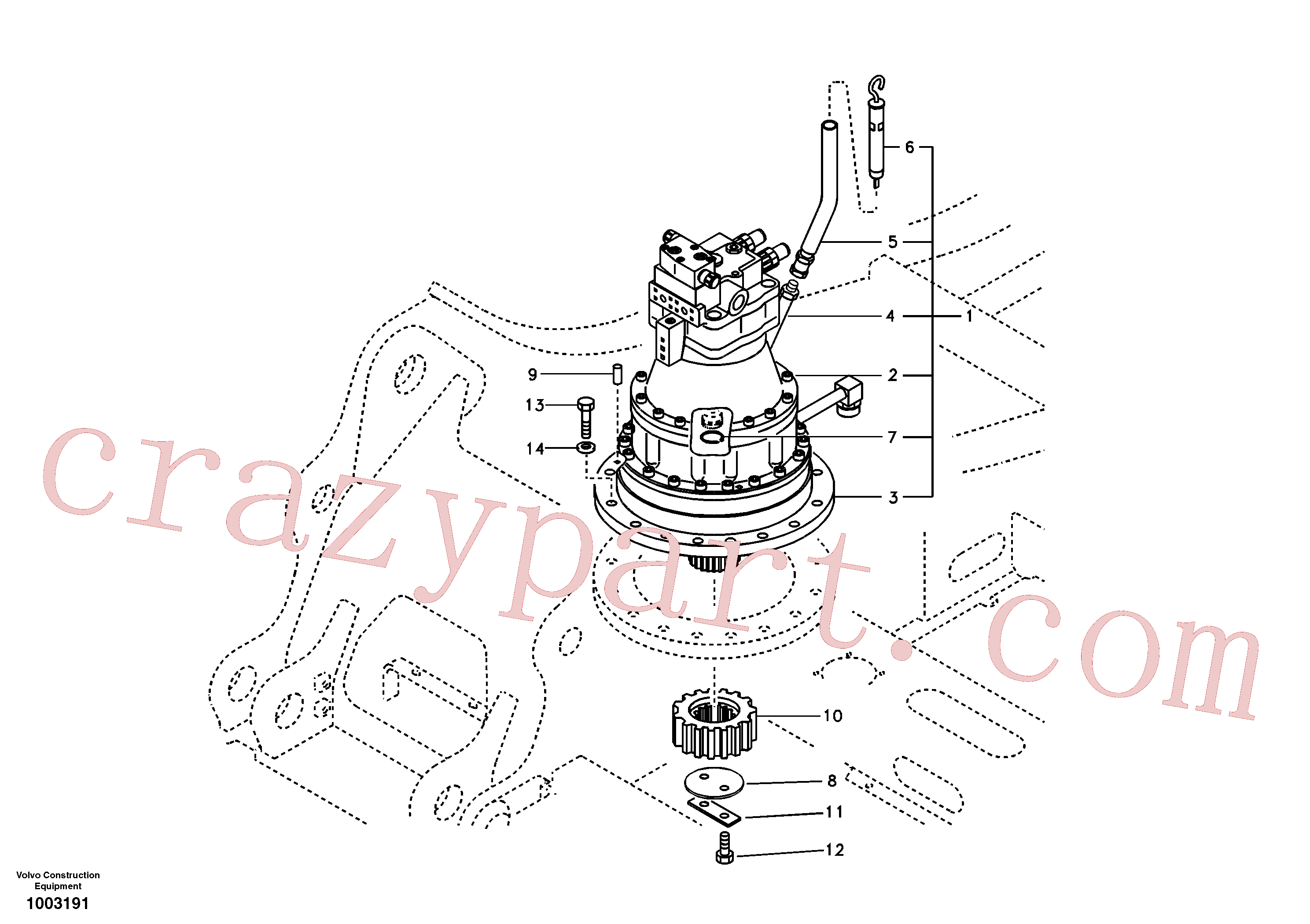 VOE14514381 for Volvo Swing motor with mounting parts(1003191 assembly)