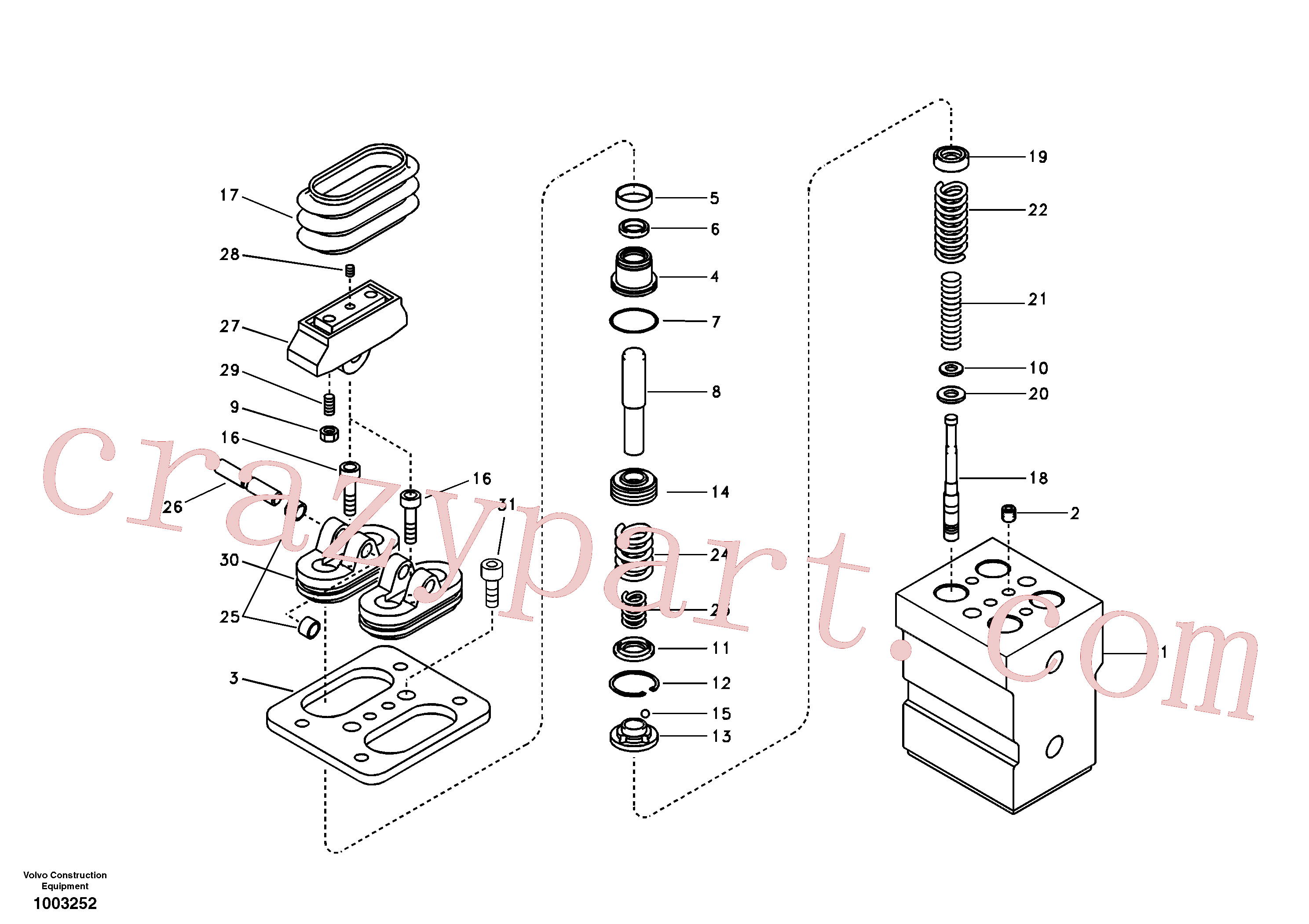 VOE14516639 for Volvo Remote control valve pedal, travel motor(1003252 assembly)