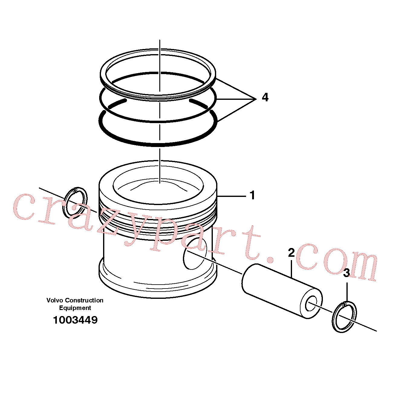 VOE914523 for Volvo Cylinder liner and piston, Pistons(1003449 assembly)