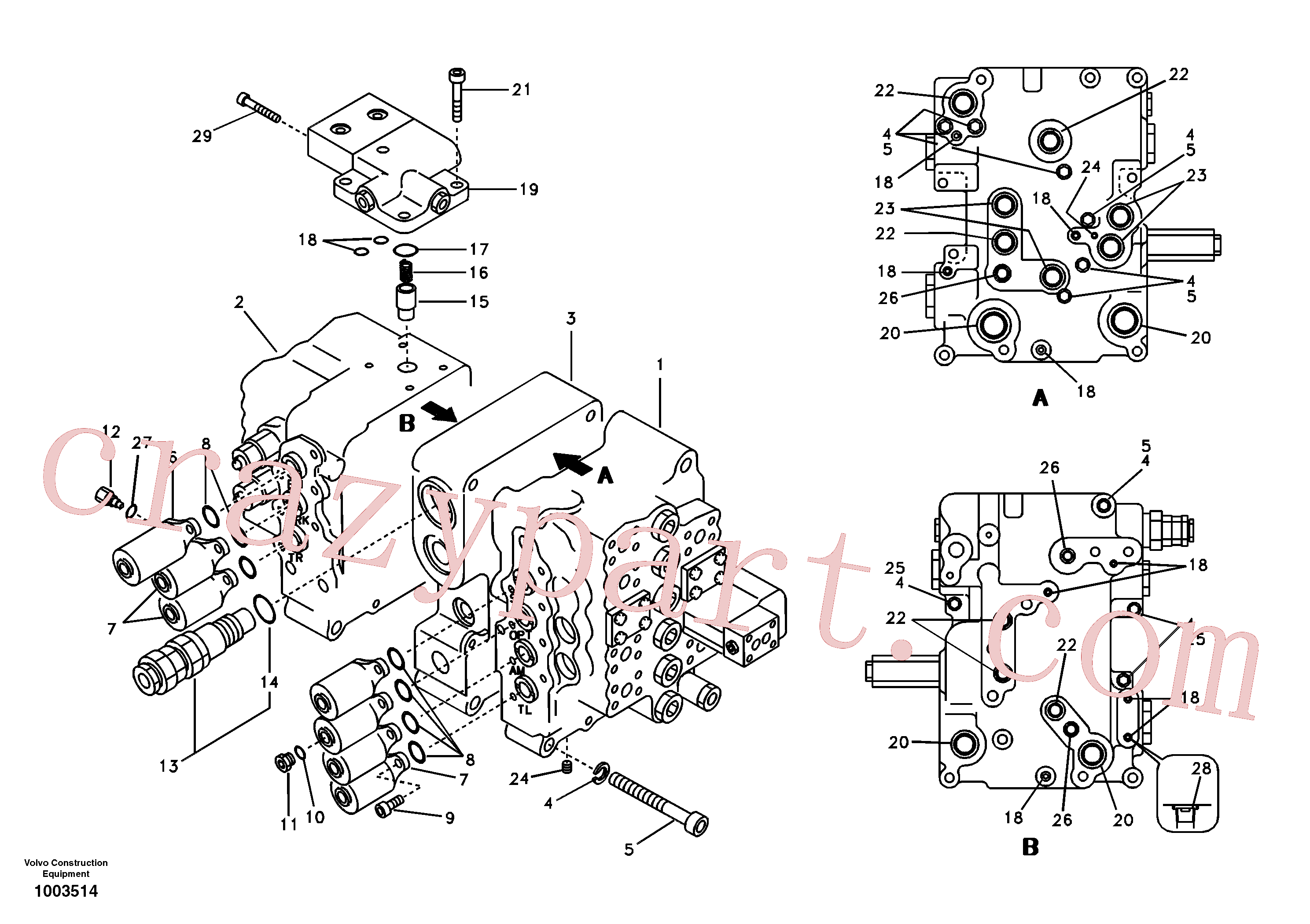 SA8230-12040 for Volvo Main control valve, relief valve and boom holding(1003514 assembly)