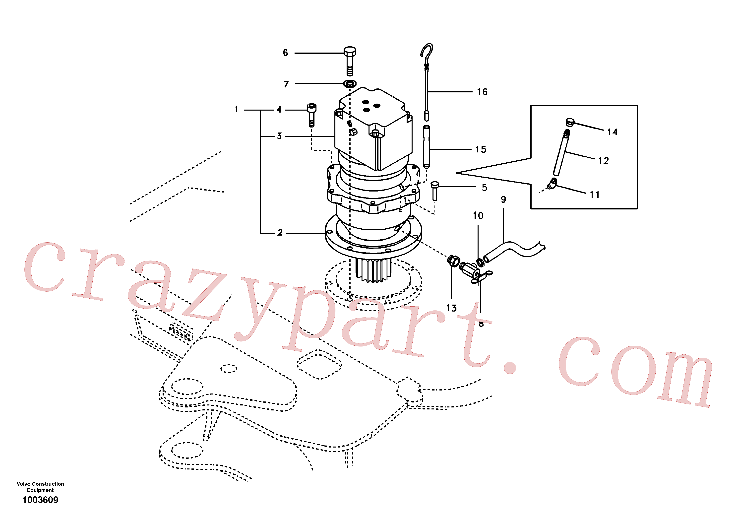 SA9349-00020 for Volvo Swing motor with mounting parts(1003609 assembly)