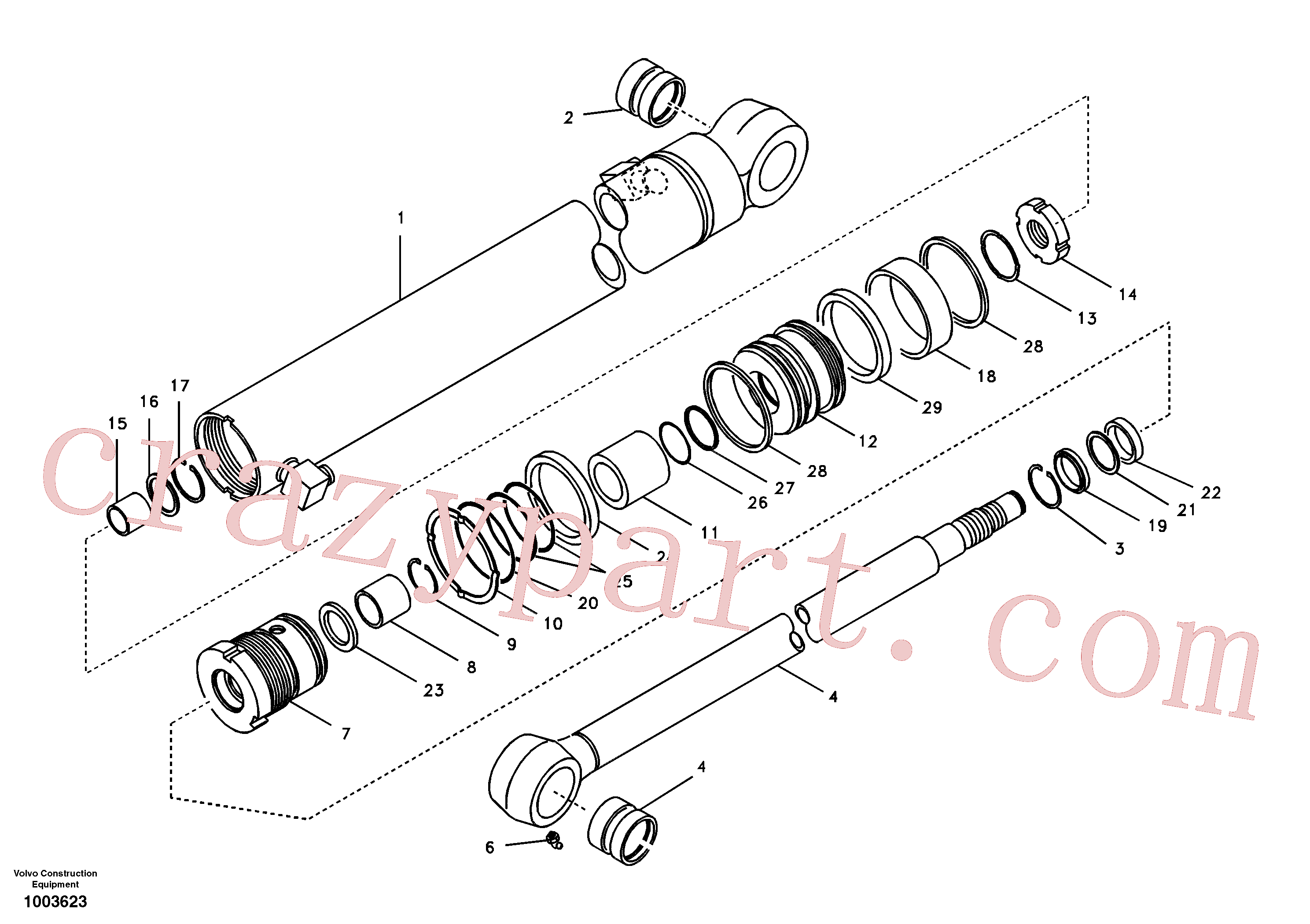 SA9556-05500 for Volvo Dipper arm cylinder(1003623 assembly)