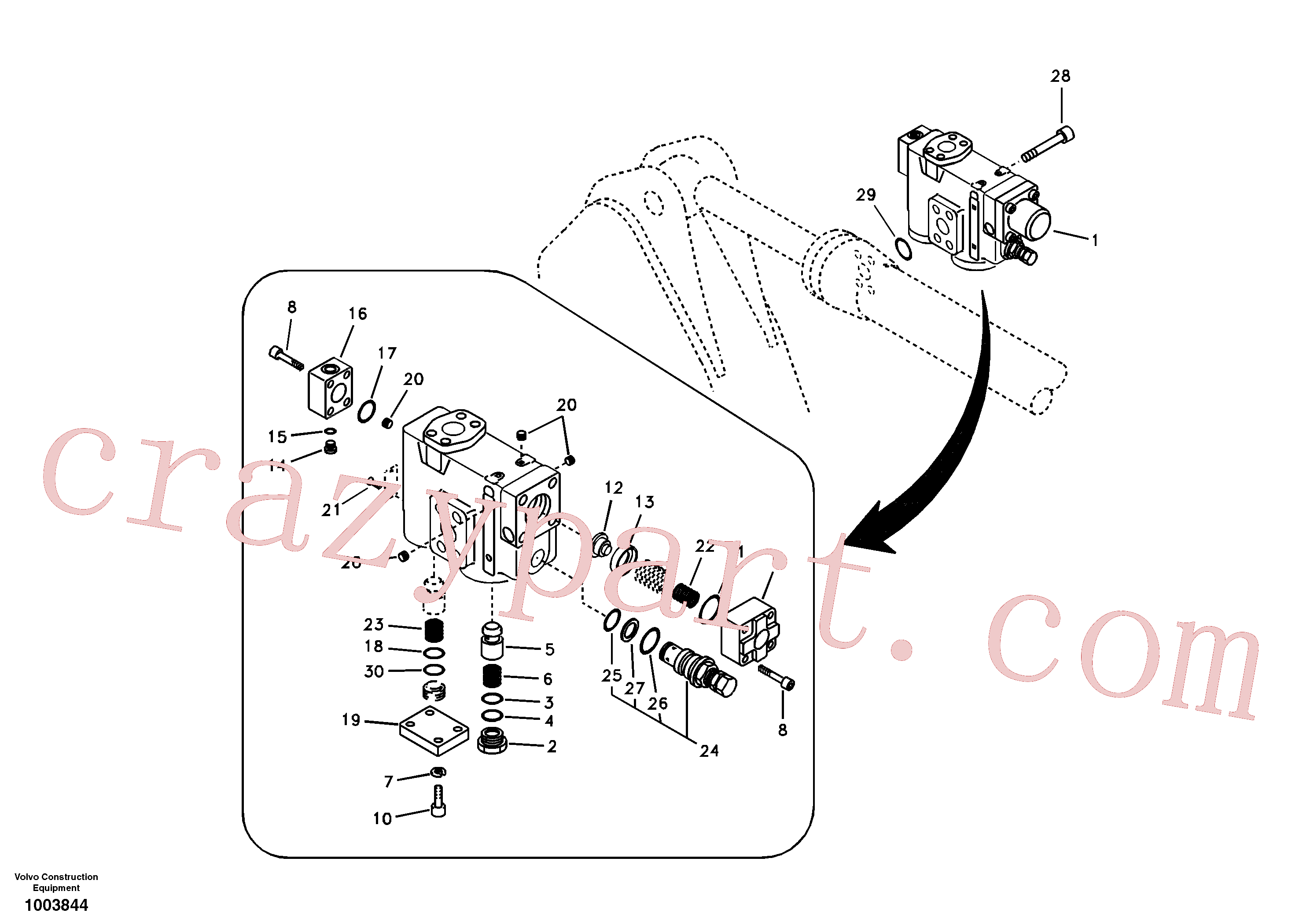 VOE14519774 for Volvo Working hydraulic, dipper arm rupture valve mount.(1003844 assembly)