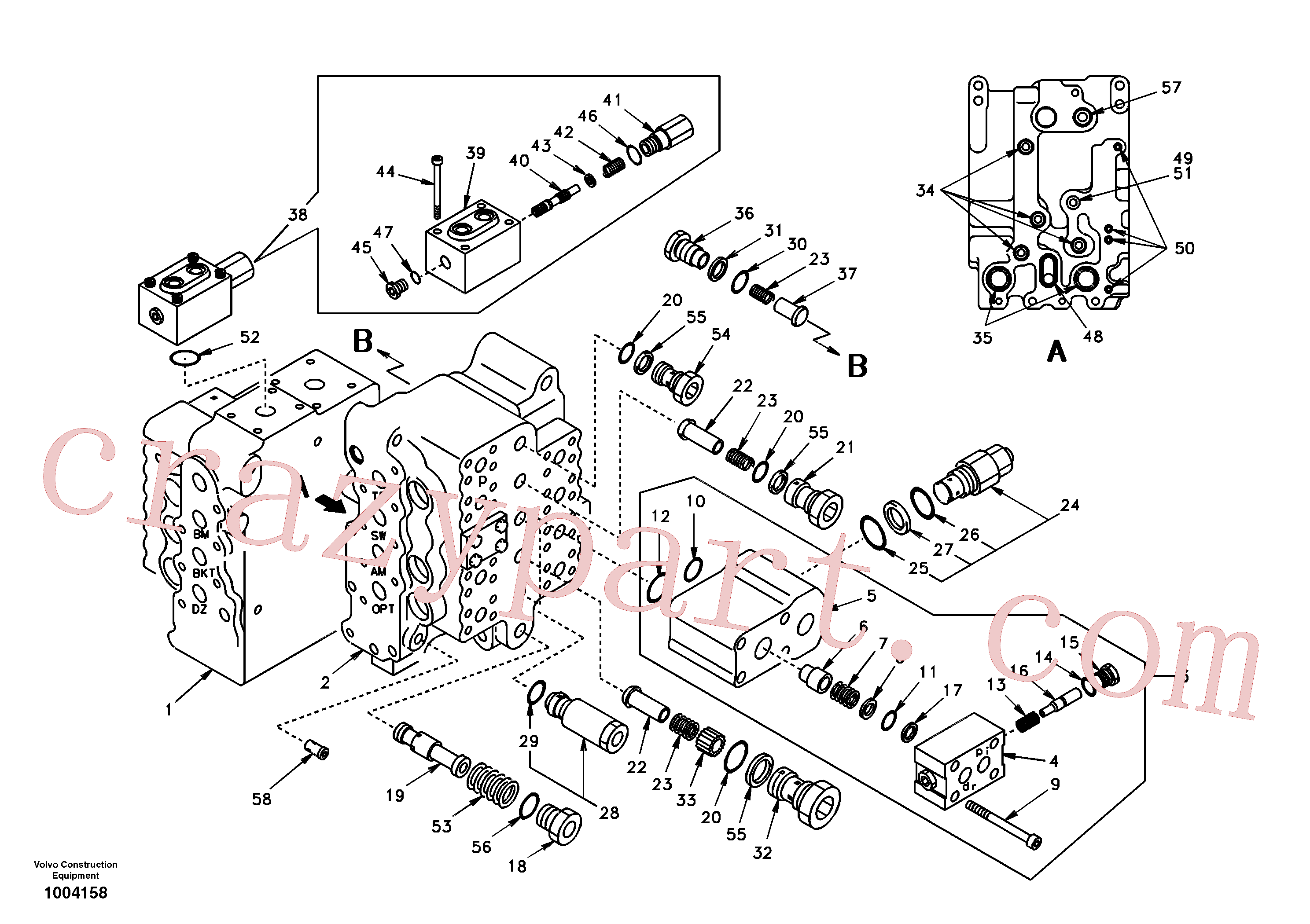 SA7271-11030 for Volvo Main control valve, travel Lh and mid inlet and travel Rh(1004158 assembly)