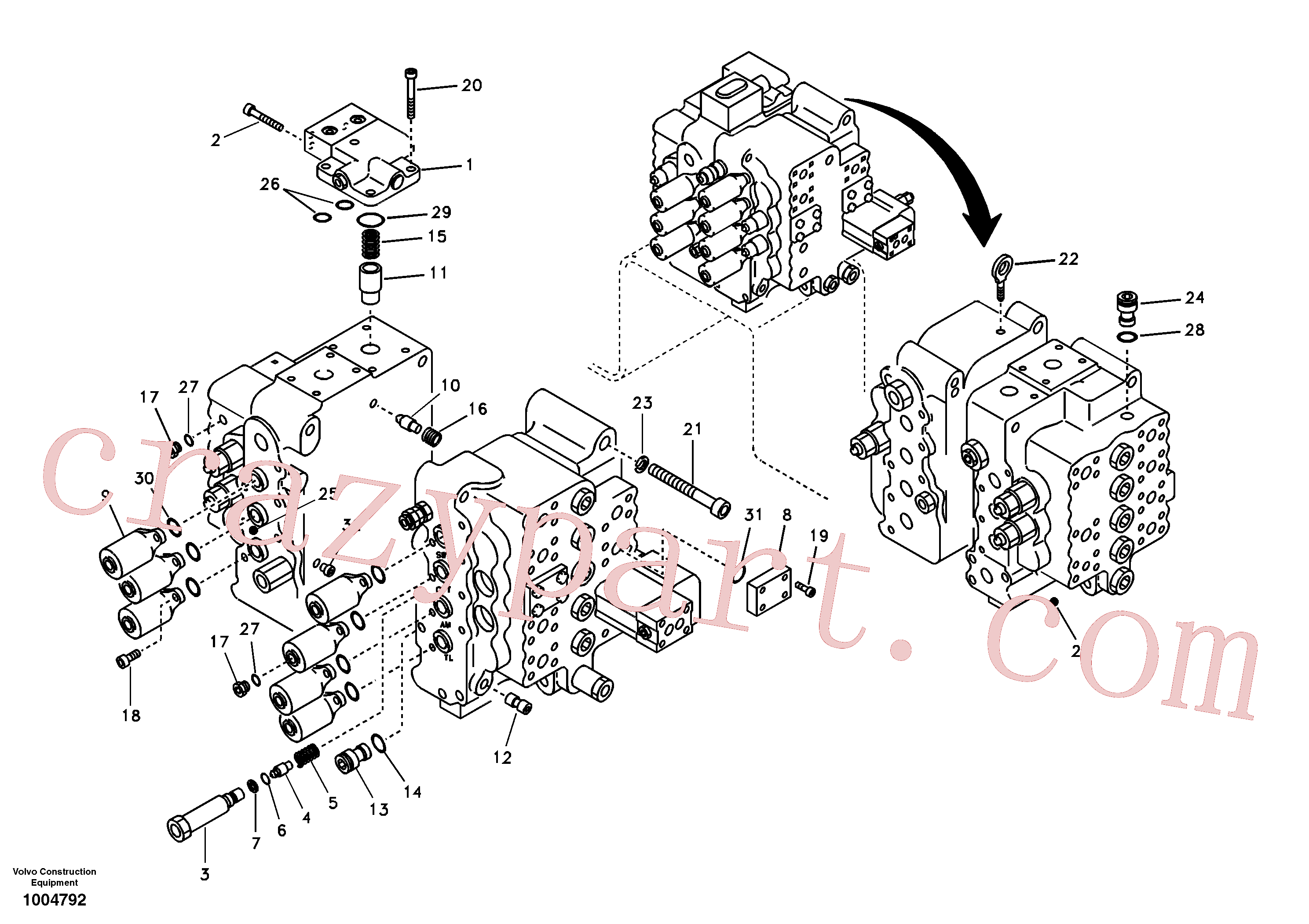 SA7273-10340 for Volvo Main control valve, relief valve and boom holding(1004792 assembly)